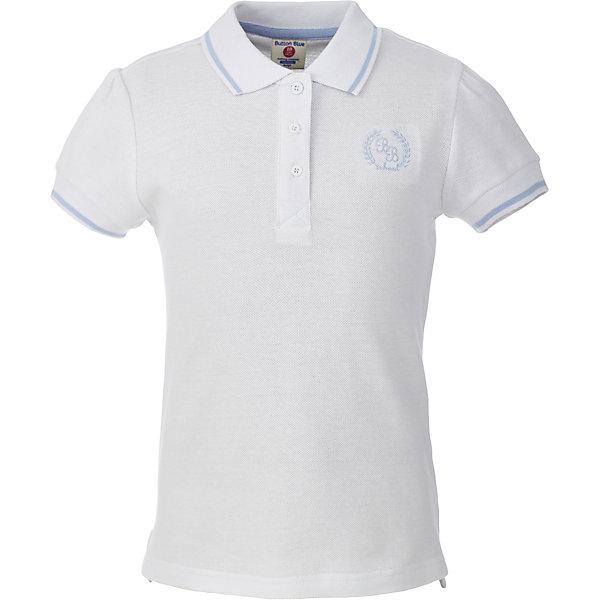 Футболка-поло для девочки BUTTON BLUEБлузки и рубашки<br>Футболка-поло для девочки BUTTON BLUE<br>Прекрасная альтернатива блузке - белое поло! По удобству и комфорту, поло для девочек в школу не менее удобно, чем футболка с коротким рукавом, но поло выглядит строже и наряднее. Небольшой цветовой акцент, внутренняя планка, придает модели изюминку.<br>Состав:<br>100% хлопок<br><br>Ширина мм: 199<br>Глубина мм: 10<br>Высота мм: 161<br>Вес г: 151<br>Цвет: белый<br>Возраст от месяцев: 72<br>Возраст до месяцев: 84<br>Пол: Женский<br>Возраст: Детский<br>Размер: 164,128,134,140,146,152,158,122<br>SKU: 6739285