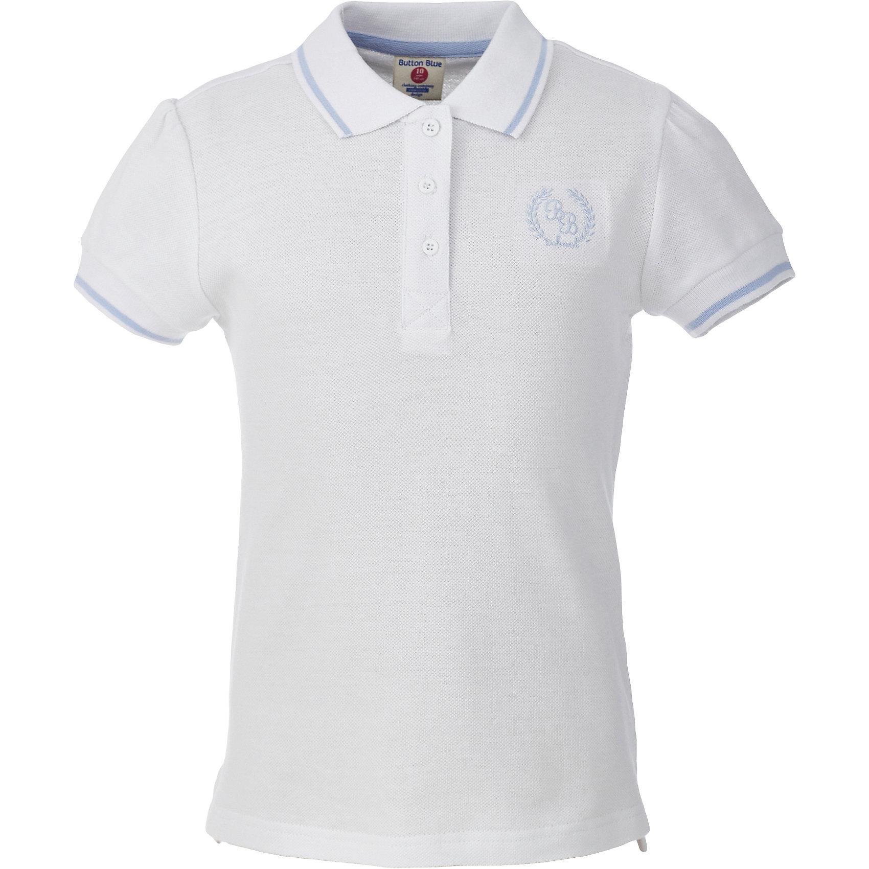 Футболка-поло для девочки BUTTON BLUEБлузки и рубашки<br>Футболка-поло для девочки BUTTON BLUE<br>Прекрасная альтернатива блузке - белое поло! По удобству и комфорту, поло для девочек в школу не менее удобно, чем футболка с коротким рукавом, но поло выглядит строже и наряднее. Небольшой цветовой акцент, внутренняя планка, придает модели изюминку.<br>Состав:<br>100% хлопок<br><br>Ширина мм: 199<br>Глубина мм: 10<br>Высота мм: 161<br>Вес г: 151<br>Цвет: белый<br>Возраст от месяцев: 156<br>Возраст до месяцев: 168<br>Пол: Женский<br>Возраст: Детский<br>Размер: 164,122,128,134,140,146,152,158<br>SKU: 6739285