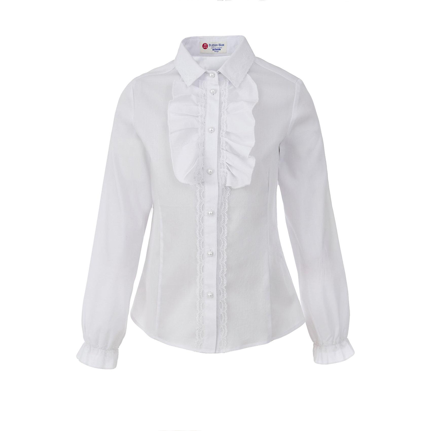 Блузка для девочки BUTTON BLUEБлузки и рубашки<br>Блузка для девочки BUTTON BLUE<br>Блузки для школы купить не сложно, но выбрать модель, сочетающую прекрасный состав, элегантный дизайн, привлекательную цену, не так уж и легко. Купить красивую школьную блузку для девочки недорого возможно, если это блузка от Button Blue! Не откладывайте покупку! Школьная блузка с жабо понадобится 1 сентября как никогда, придав образу торжественность и элегантность.<br>Состав:<br>62% хлопок,  35%нейлон,                3% эластан<br><br>Ширина мм: 186<br>Глубина мм: 87<br>Высота мм: 198<br>Вес г: 197<br>Цвет: белый<br>Возраст от месяцев: 156<br>Возраст до месяцев: 168<br>Пол: Женский<br>Возраст: Детский<br>Размер: 164,122,128,134,140,146,152,158<br>SKU: 6739321