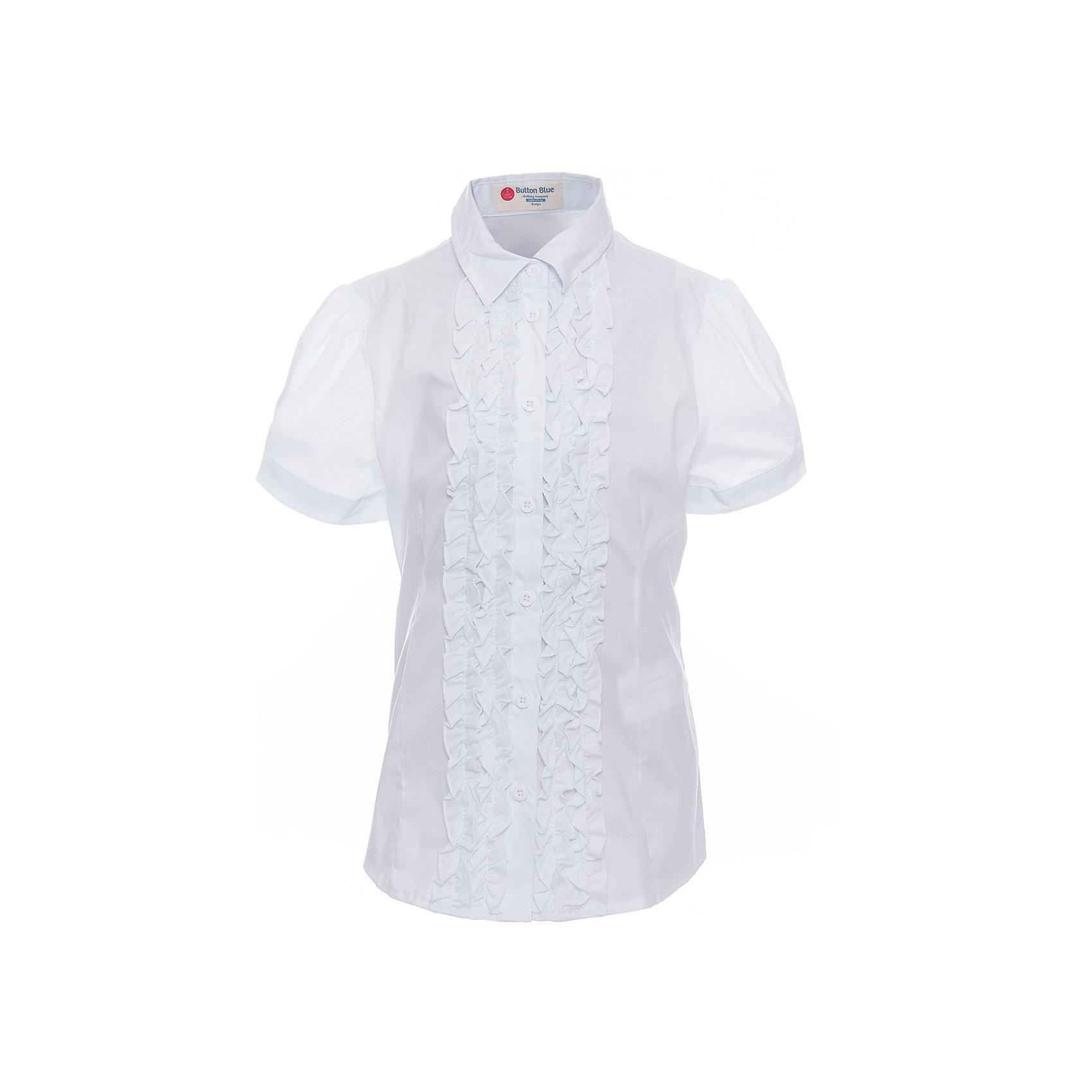 Блузка для девочки BUTTON BLUEБлузки и рубашки<br>Блузка для девочки BUTTON BLUE<br>Блузки для школы купить не сложно, но выбрать модель, сочетающую прекрасный состав, элегантный дизайн, привлекательную цену, не так уж и легко. Купить красивую школьную блузку для девочки недорого возможно, если это блузка от Button Blue! Не откладывайте покупку! Нарядная школьная блузка с коротким рукавом понадобится 1 сентября как никогда, придав образу торжественность и элегантность.<br>Состав:<br>62% хлопок,  35%нейлон,                3% эластан<br><br>Ширина мм: 186<br>Глубина мм: 87<br>Высота мм: 198<br>Вес г: 197<br>Цвет: белый<br>Возраст от месяцев: 156<br>Возраст до месяцев: 168<br>Пол: Женский<br>Возраст: Детский<br>Размер: 164,128,122,134,140,146,152,158<br>SKU: 6739348