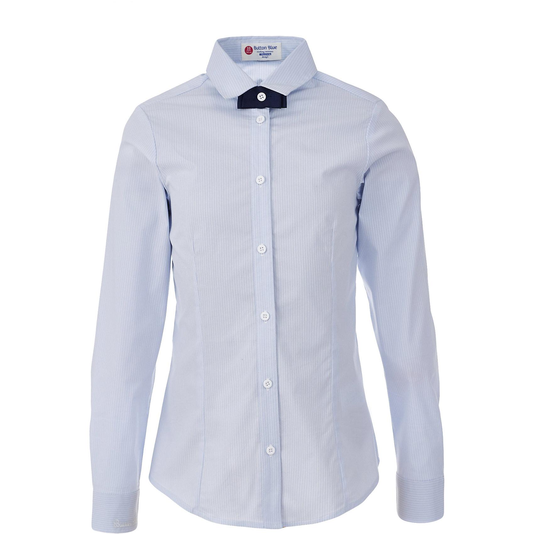 Блузка для девочки BUTTON BLUEБлузки и рубашки<br>Блузка для девочки BUTTON BLUE<br>Блузки для школы купить не сложно, но выбрать модель, сочетающую прекрасный состав, элегантный дизайн, привлекательную цену, не так уж и легко. Купить красивую школьную блузку для девочки недорого возможно, если это блузка от Button Blue! Голубая школьная блузка с бантиком сделает каждый день ребенка комфортным!<br>Состав:<br>61% хлопок,  36%нейлон,                3% эластан<br><br>Ширина мм: 186<br>Глубина мм: 87<br>Высота мм: 198<br>Вес г: 197<br>Цвет: голубой<br>Возраст от месяцев: 144<br>Возраст до месяцев: 156<br>Пол: Женский<br>Возраст: Детский<br>Размер: 158,122,164,128,134,140,146,152<br>SKU: 6739366
