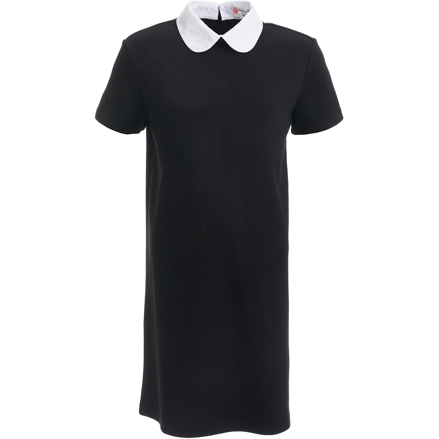 Платье для девочки BUTTON BLUEПлатья и сарафаны<br>Платье для девочки BUTTON BLUE<br>Школьные платья делают образ ученицы серьезным и элегантным. Если вы хотите купить  универсальную вещь и на каждый день, и для торжественного случая, вам стоит купить школьное платье. Трикотажное школьное платье для девочек обеспечит уют, свободу движений, удобство в повседневной носке. Белый воротник подчеркнет строгость модели и нежность ее обладательницы.<br>Состав:<br>75% полиэстер,              21% вискоза,                           4% эластан<br><br>Ширина мм: 236<br>Глубина мм: 16<br>Высота мм: 184<br>Вес г: 177<br>Цвет: черный<br>Возраст от месяцев: 156<br>Возраст до месяцев: 168<br>Пол: Женский<br>Возраст: Детский<br>Размер: 164,122,128,134,140,146,152,158<br>SKU: 6739402