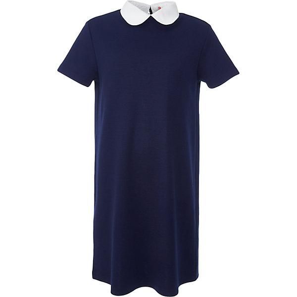 Платье для девочки BUTTON BLUEПлатья и сарафаны<br>Платье для девочки BUTTON BLUE<br>Школьные платья делают образ ученицы серьезным и элегантным. Если вы хотите купить  универсальную вещь и на каждый день, и для торжественного случая, вам стоит купить школьное платье. Трикотажное школьное платье для девочек обеспечит уют, свободу движений, удобство в повседневной носке. Белый воротник подчеркнет строгость модели и нежность ее обладательницы.<br>Состав:<br>75% полиэстер, 21% вискоза,     4% эластан<br><br>Ширина мм: 236<br>Глубина мм: 16<br>Высота мм: 184<br>Вес г: 177<br>Цвет: синий<br>Возраст от месяцев: 72<br>Возраст до месяцев: 84<br>Пол: Женский<br>Возраст: Детский<br>Размер: 122,164,158,152,146,140,134,128<br>SKU: 6739411