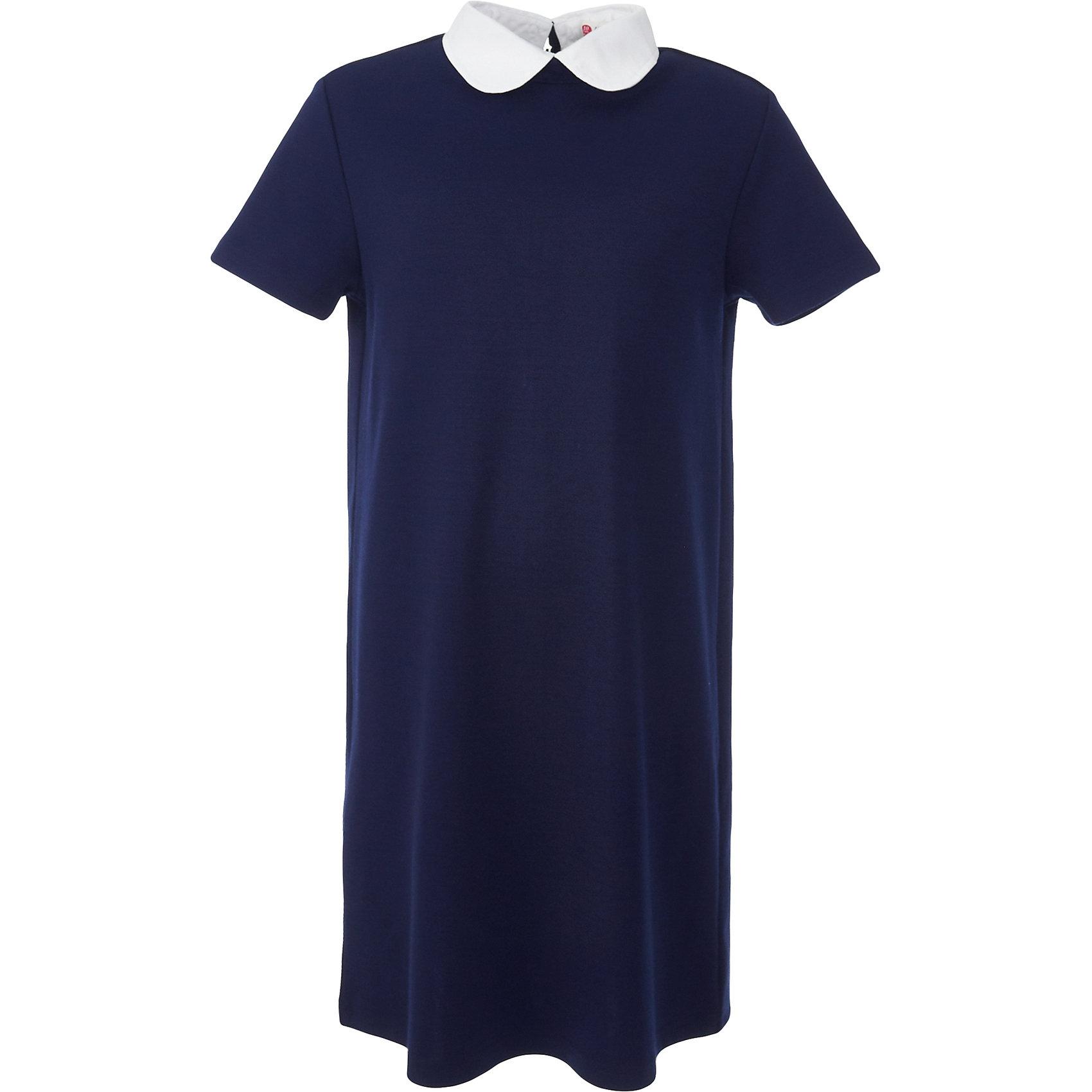 Платье для девочки BUTTON BLUEПлатья и сарафаны<br>Платье для девочки BUTTON BLUE<br>Школьные платья делают образ ученицы серьезным и элегантным. Если вы хотите купить  универсальную вещь и на каждый день, и для торжественного случая, вам стоит купить школьное платье. Трикотажное школьное платье для девочек обеспечит уют, свободу движений, удобство в повседневной носке. Белый воротник подчеркнет строгость модели и нежность ее обладательницы.<br>Состав:<br>75% полиэстер, 21% вискоза,     4% эластан<br><br>Ширина мм: 236<br>Глубина мм: 16<br>Высота мм: 184<br>Вес г: 177<br>Цвет: синий<br>Возраст от месяцев: 84<br>Возраст до месяцев: 96<br>Пол: Женский<br>Возраст: Детский<br>Размер: 128,134,140,146,152,158,164,122<br>SKU: 6739411