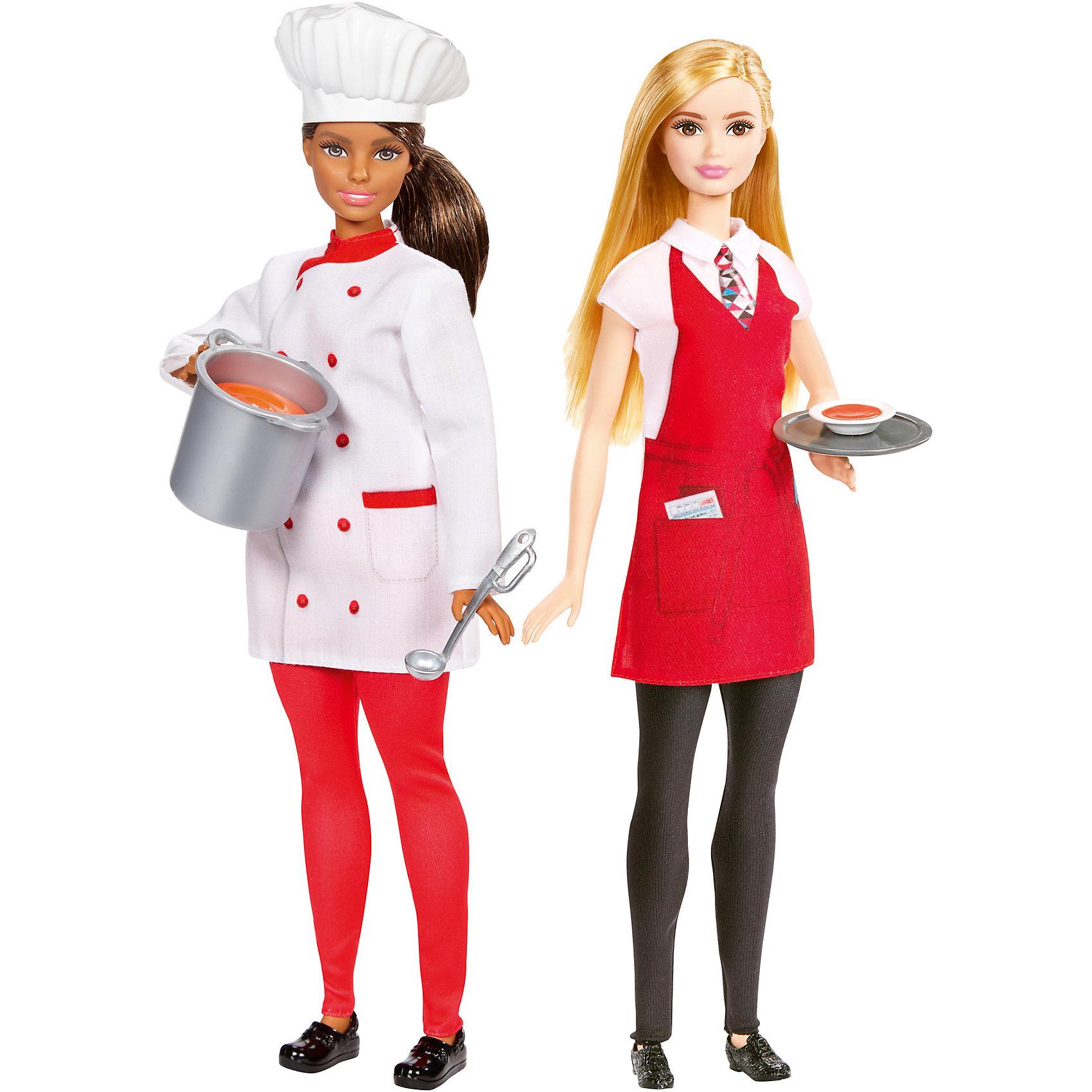 Набор из 2-х кукол Barbie Повар и ОфицианткаНаборы кукол<br>Характеристики товара:<br><br>• возраст: от 3 лет<br>• материал: пластик;<br>• высота кукол: 28-30 см;<br>• размер упаковки: 31X32X7 см;<br>• страна бренда: США<br>• страна изготовоитель: Китай<br><br>Наборы Barbie®, посвященные разным профессиям, помогут маленьким фантазеркам узнать больше о разных профессиях. В каждом наборе две куклы и аксессуары, связанные с их работой. <br><br>Кукла-повар носит белый поварской китель, красные брюки, черные туфли и белый колпак. Кастрюля и поварешка помогут приготовить вкуснейшие блюда. Кукла-официантка, одета в белую рубашку, красный фартук, черные брюки и ботинки. У нее с собой поднос с миской аппетитного супа. <br><br>Набор из 2-х кукол Barbie Повар и Официантка можно купить в нашем интернет-магазине.<br><br>Ширина мм: 327<br>Глубина мм: 319<br>Высота мм: 63<br>Вес г: 492<br>Возраст от месяцев: 36<br>Возраст до месяцев: 72<br>Пол: Женский<br>Возраст: Детский<br>SKU: 6739669