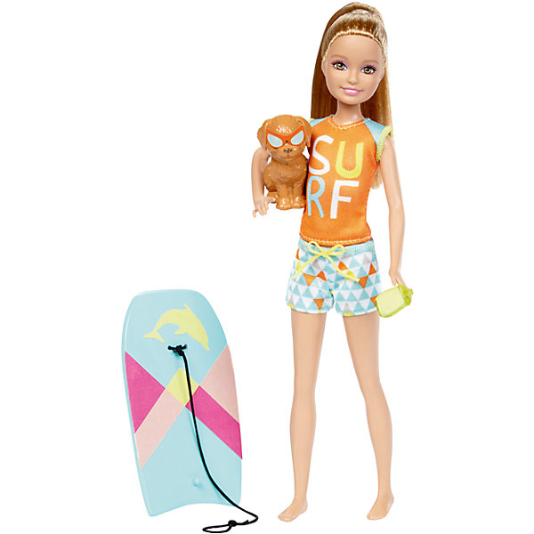 Кукла Barbie Стэйси из серии «Морские приключения»Barbie Игрушки<br>Характеристики товара:<br><br>• возраст: от 3 лет<br>• материал: пластик;<br>• высота куклы: 28-30 см;<br>• размер упаковки: 31X25X7 см;<br>• страна бренда: США<br>• страна изготовоитель: Китай<br><br>Кукла Stacie™ со щенком и доской для буги-бординга, которая меняет цвет. Просто нанеси теплую воду и посмотри, как цвет изменится мгновенно!<br><br>Дополнительные аксессуары - солнцезащитный крем у Stacie™— еще больше возможностей для игры. Щенок принимает милые позы и носит аксессуары, гармонирующие с?образом куклы.<br><br>Куклу Barbie Стэйси из серии «Морские приключения» можно купить в нашем интернет-магазине.<br>Ширина мм: 327; Глубина мм: 152; Высота мм: 40; Вес г: 170; Возраст от месяцев: 36; Возраст до месяцев: 72; Пол: Женский; Возраст: Детский; SKU: 6739679;