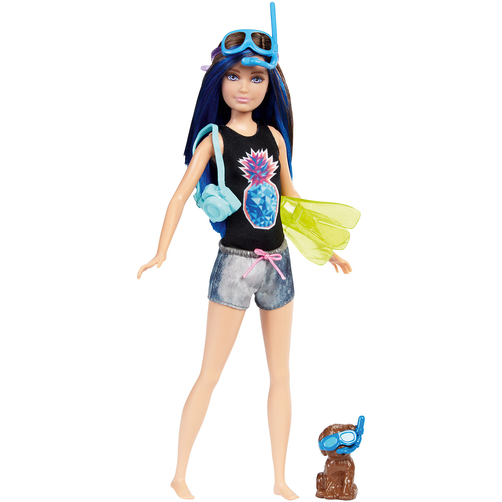 Кукла Barbie Скиппер из серии «Морские приключения»Популярные игрушки<br>Характеристики товара:<br><br>• возраст: от 3 лет<br>• материал: пластик;<br>• высота куклы: 28-30 см;<br>• размер упаковки: 31X25X7 см;<br>• страна бренда: США<br>• страна изготовоитель: Китай<br><br>Кукла Skipper™ со щенком и плавательным снаряжением, которое меняет цвет. А именно, цвет меняет маска и дельфин на доске. Просто нанеси теплую воду и посмотри, как цвет изменится мгновенно!<br><br>Дополнительные аксессуары— камера и ласты— еще больше возможностей для игры. Щенок принимает милые позы и носит аксессуары, гармонирующие с?образом куклы.<br><br>Куклу Barbie Скиппер из серии «Морские приключения» можно купить в нашем интернет-магазине.<br><br>Ширина мм: 324<br>Глубина мм: 154<br>Высота мм: 38<br>Вес г: 187<br>Возраст от месяцев: 36<br>Возраст до месяцев: 72<br>Пол: Женский<br>Возраст: Детский<br>SKU: 6739680