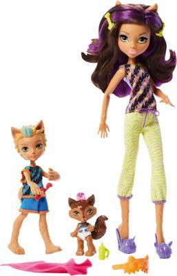 Mattel Набор кукол Monster High Клодин Вульф с братом Баркером и сестрой Вередит из серии Семья Монстриков
