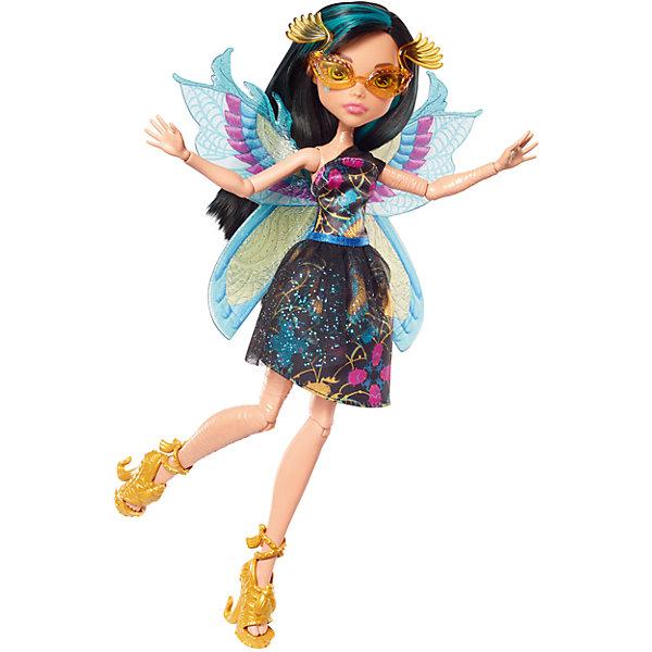 Кукла Monster High Цветочная монстряшка Клео де НилКуклы<br>Характеристики товара:<br><br>• возраст: от 6 лет<br>• материал: пластик;<br>• упаковка: коробка;<br>• высота куклы: 28-30 см<br>• страна бренда: США<br><br>Роскошные крылья уникальных форм, цветов и видов помогают ученицам Monster High™ летать стильно. <br>Клео одета в черное платье с пышной юбкой. <br><br>Крылышки выполнены в египетском стиле в голубом и желтом цветах. Волосы черные с бирюзовыми прядями. На ногах золотистые туфли с жемчугом, скарабеями и змейками на каблуке.<br><br>В?набор входят кукла Monster High™ «Цветочные монстряшки»™, одежда, аксессуары и крылья. <br><br>Куклу Monster High Цветочная монстряшка Клео де Нил можно кукпить в нашем интернет-магазине.<br>Ширина мм: 328; Глубина мм: 157; Высота мм: 68; Вес г: 194; Возраст от месяцев: 72; Возраст до месяцев: 120; Пол: Женский; Возраст: Детский; SKU: 6739694;