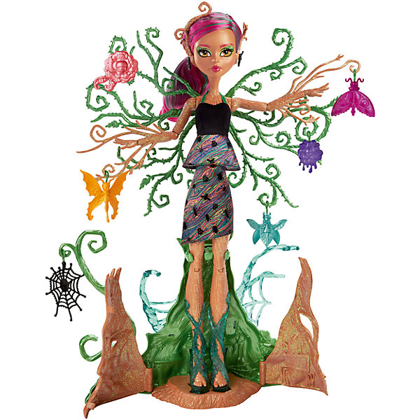 Кукла Monster High Цветочная монстряшка Триса ТорнвиллоуБренды кукол<br>Характеристики товара:<br><br>• возраст: от 6 лет<br>• материал: пластик;<br>• упаковка: коробка;<br>• высота куклы: 28-30 см<br>• страна бренда: США<br><br>Кукла Триса Торнвиллоу™ из серии Monster High™ «Цветочные монстряшки» с легкостью превращается в игровой набор. <br><br>Так просто создать мир удовольствий! Кора, покрывающая ее ноги, раскрывается, чтобы выпустить Трису на свободу. Можно оставить ее стоять на месте, расправив ветки у нее на спине; их можно украсить и показать в своей коллекции. <br><br>Повернув  ручку на ее спине, можно увидеть, как Триса растет, а ее зеленые ветви поднимаются к солнцу. В комплекте с Трисой Торнвиллоу™есть шесть садовых предметов на крючках. Среди них — цветок, жучок и паутина, которые можно повесить на развесистые ветки куклы.<br><br>Куклу Monster High Цветочная монстряшка Триса Торнвиллоу можно купить в нашем интенет-магазине.<br>Ширина мм: 391; Глубина мм: 309; Высота мм: 104; Вес г: 677; Возраст от месяцев: 72; Возраст до месяцев: 120; Пол: Женский; Возраст: Детский; SKU: 6739696;