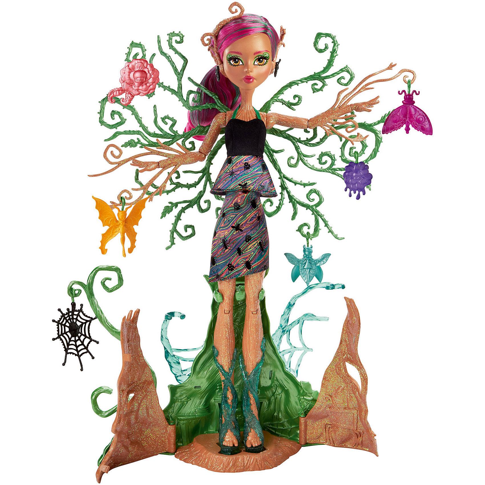 Кукла Monster High Цветочная монстряшка Триса ТорнвиллоуКуклы-модели<br>Характеристики товара:<br><br>• возраст: от 6 лет<br>• материал: пластик;<br>• упаковка: коробка;<br>• высота куклы: 28-30 см<br>• страна бренда: США<br><br>Кукла Триса Торнвиллоу™ из серии Monster High™ «Цветочные монстряшки» с легкостью превращается в игровой набор. <br><br>Так просто создать мир удовольствий! Кора, покрывающая ее ноги, раскрывается, чтобы выпустить Трису на свободу. Можно оставить ее стоять на месте, расправив ветки у нее на спине; их можно украсить и показать в своей коллекции. <br><br>Повернув  ручку на ее спине, можно увидеть, как Триса растет, а ее зеленые ветви поднимаются к солнцу. В комплекте с Трисой Торнвиллоу™есть шесть садовых предметов на крючках. Среди них — цветок, жучок и паутина, которые можно повесить на развесистые ветки куклы.<br><br>Куклу Monster High Цветочная монстряшка Триса Торнвиллоу можно купить в нашем интенет-магазине.<br><br>Ширина мм: 391<br>Глубина мм: 309<br>Высота мм: 104<br>Вес г: 677<br>Возраст от месяцев: 72<br>Возраст до месяцев: 120<br>Пол: Женский<br>Возраст: Детский<br>SKU: 6739696