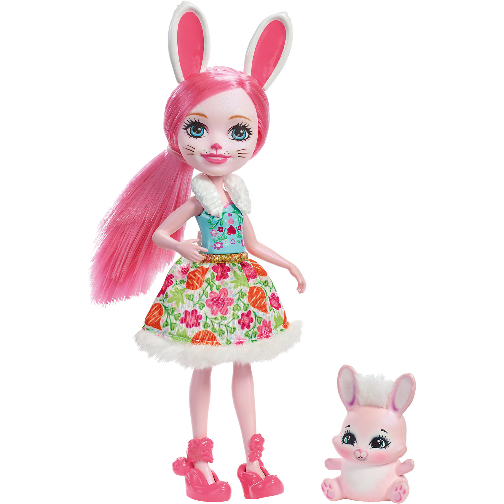 Кукла-кролик Enchantimals Бри БанниМини-куклы<br>Характеристики товара:<br><br>• возраст: от 3 лет;<br>• пол: девочка;<br>• материал: пластик, текстиль<br>• высота куклы: 15 см;<br>• в комплекте : кукла, фигурка питомца; <br>• подвижные руки, ноги и голова кукол;<br>• мягкие волосы, которые можно расчесывать;                                         <br>• страна-производитель: Индонезия;                                    <br>• размер упаковки: 5,5х10х32,5 см.<br><br>Новинка от Mattel!!!<br>Перед вами Бри Кроля и ее милый пушистый кролик Твист. Они так похожи! У Бри есть кроличьи ушки, хвостик и носик. А еще у нее нежно-розовая кожа, голубые глазки и розовые длинные волосы, которые можно расчёсывать. <br><br>Наряд Бри просто очарователен: белый меховой воротник, нежно-голубой топ с рисунком цветочков и сердечек, пышная белая юбка с принтом из цветов и морковок и отделкой из меха. А еще на ножках нашей героини красуются туфельки в виде кроликов, дополняющие образ.<br><br>У Твиста милая мордочка, лапки и ушки, большие глазки и пушистый мех.<br><br>Куклу Бри Кроля от Mattel можно купить в нашем интернет-магазине.<br><br>Ширина мм: 231<br>Глубина мм: 129<br>Высота мм: 37<br>Вес г: 93<br>Возраст от месяцев: 72<br>Возраст до месяцев: 120<br>Пол: Женский<br>Возраст: Детский<br>SKU: 6739697