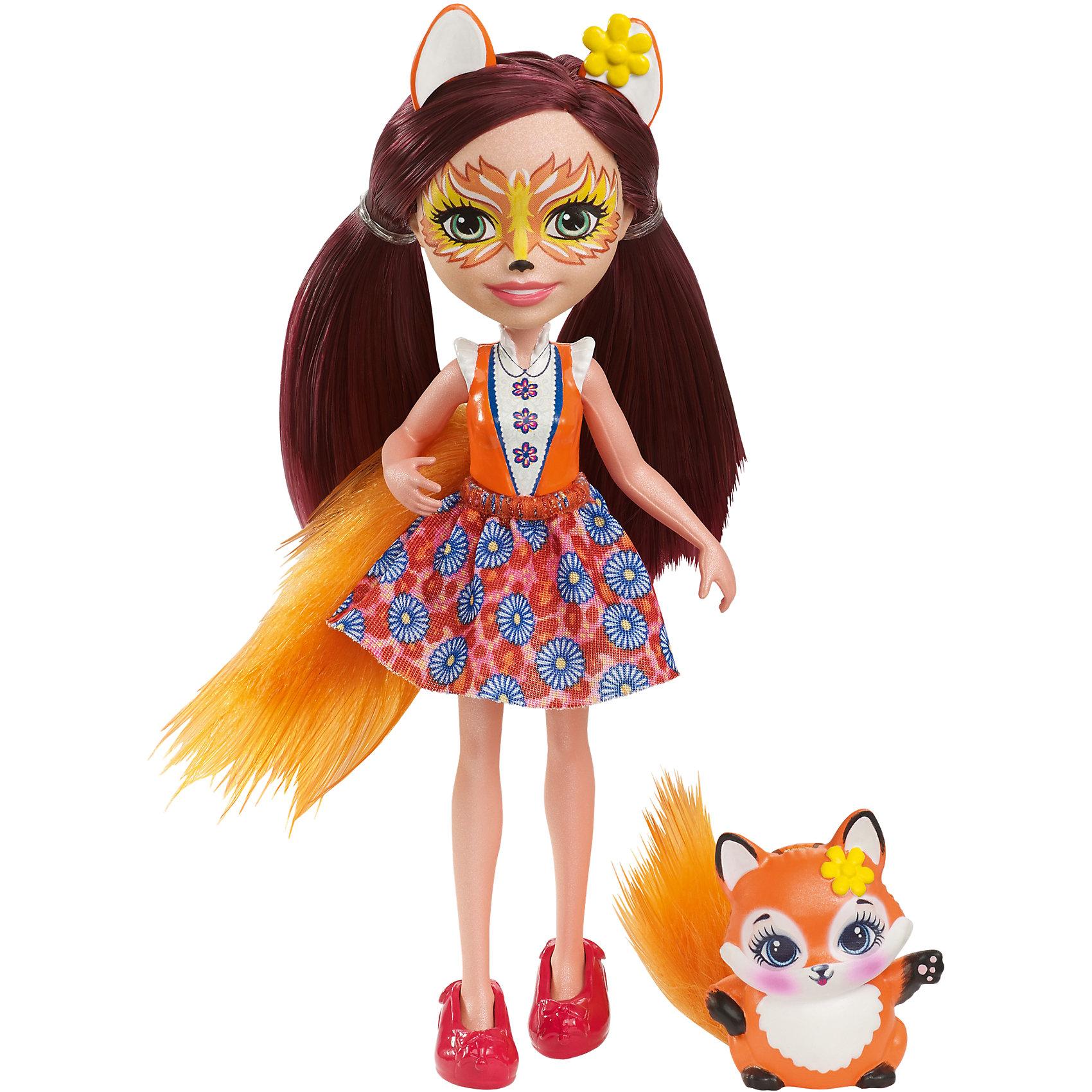 Кукла-лиса Enchantimals Фелисити ФоксМини-куклы<br>Характеристики товара:<br><br>• возраст: от 3 лет;<br>• пол: девочка;<br>• материал: пластик, текстиль<br>• высота куклы: 15 см;<br>• в комплекте : кукла, фигурка питомца; <br>• подвижные руки, ноги и голова кукол;<br>• мягкие волосы, которые можно расчесывать;                                         <br>• страна-производитель: Индонезия;                                    <br>• размер упаковки: 5,5х10х32,5 см.<br><br>Новинка от Mattel!<br>Перед вами Фелисити Лис и ее милый пушистый лисёнок Флик. Они так похожи! У Фелисити есть лисьи ушки, хвостик и носик. А еще у нее зелёные глазки и красные длинные волосы, которые можно расчёсывать. <br><br>Наряд Фелисити просто очарователен: оранжево-белый верх и пышная оранжевая юбка с цветочным принтом. А еще на ножках нашей героини красуются туфельки в виде лисят, дополняющие образ.<br><br>У лисенка Флика милая мордочка, лапки и ушки, большие глазки и пушистый хвостик.<br><br>Куклу Фелисити Лис от Mattel можно купить в нашем интернет-магазине.<br><br>Ширина мм: 233<br>Глубина мм: 129<br>Высота мм: 34<br>Вес г: 94<br>Возраст от месяцев: 72<br>Возраст до месяцев: 120<br>Пол: Женский<br>Возраст: Детский<br>SKU: 6739698