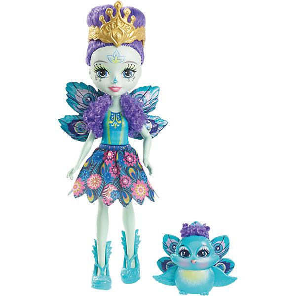Кукла-павлин Enchantimals Пэттер ПикокБренды кукол<br>Характеристики товара:<br><br>• возраст: от 3 лет;<br>• пол: девочка;<br>• материал: пластик, текстиль<br>• высота куклы: 15 см;<br>• в комплекте : кукла, фигурка питомца; <br>• подвижные руки, ноги и голова кукол;<br>• мягкие волосы, которые можно расчесывать;                                         <br>• страна-производитель: Индонезия;                                    <br>• размер упаковки: 5,5х10х32,5 см.<br><br>Новинка от Mattel!!!<br>Перед вами Пэттер Павлина и ее роскошный павлин Флэп. Они так похожи! У Пэттер есть носик и хвост как у павлина. А еще у нее голубые глазки, светло-зелёная кожа и фиолетовые волосы, собранные в высокую прическу. Наряд Пэттер просто восхитителен, выполнен в бирюзовых тонах, а пышная юбка напоминает павлиньи перья. А еще на ножках нашей героини красуются туфельки в виде павлинов, дополняющие образ.<br><br>У Флэп милая мордочка, крылышки, большие глазки и роскошный павлиний хвост.<br><br>Куклу Пэттер Павлина от Mattel можно купить в нашем интернет-магазине.<br>Ширина мм: 216; Глубина мм: 126; Высота мм: 45; Вес г: 96; Возраст от месяцев: 72; Возраст до месяцев: 120; Пол: Женский; Возраст: Детский; SKU: 6739700;