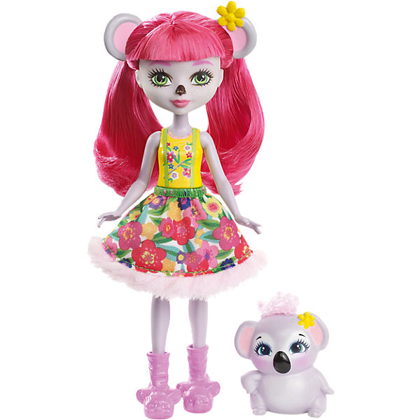 Кукла-коала Enchantimals КаринаКуклы<br>Характеристики товара:<br><br>• возраст: от 3 лет;<br>• пол: девочка;<br>• материал: пластик, текстиль<br>• высота куклы: 15 см;<br>• в комплекте : кукла, фигурка питомца; <br>• подвижные руки, ноги и голова кукол;<br>• мягкие волосы, которые можно расчесывать;                                         <br>• страна-производитель: Индонезия;                                    <br>• размер упаковки: 5,5х10х32,5 см.<br><br>Новинка от Mattel!!!<br>Перед вами Карина Коала и ее милая пушистая коала Деб. Они так похожи! У Карины есть ушки и тёмный носик как у коалы. А еще у нее зелёные глазки, светло-серая кожа и длинные розовые волосы, которые можно расчёсывать. <br><br>Наряд Карины просто очарователен: жёлтый верх и пышная белая юбка с цветочным принтом и мехом. А еще на ножках нашей героини красуются туфельки в виде коал, дополняющие образ.<br><br>У коалы Деб милая мордочка, лапки и ушки, большие глазки и пушистый мех.<br><br>Куклу Карина Коала от Mattel можно купить в нашем интернет-магазине.<br>Ширина мм: 218; Глубина мм: 131; Высота мм: 48; Вес г: 98; Возраст от месяцев: 72; Возраст до месяцев: 120; Пол: Женский; Возраст: Детский; SKU: 6739701;