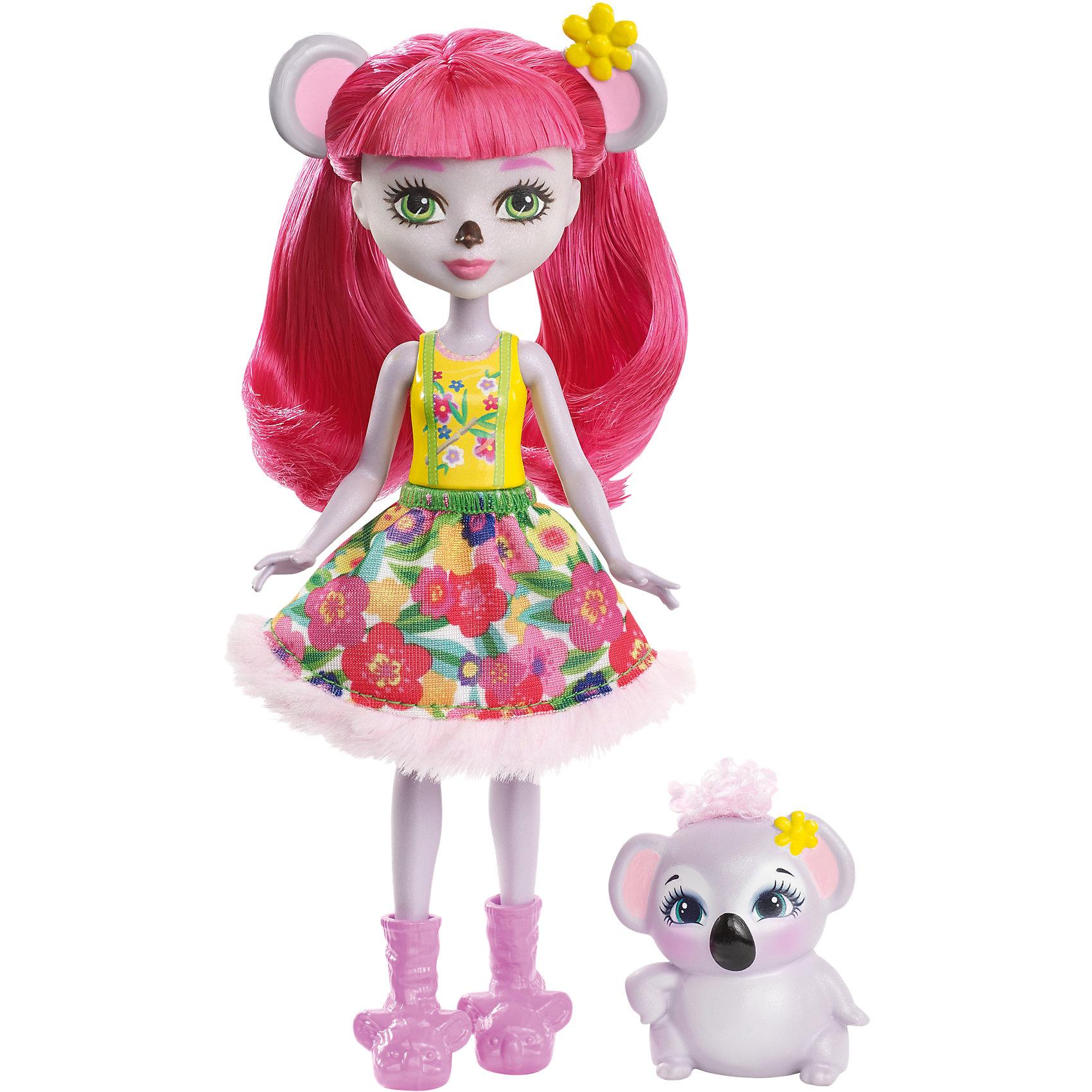 Кукла-коала Enchantimals КаринаБренды кукол<br>Характеристики товара:<br><br>• возраст: от 3 лет;<br>• пол: девочка;<br>• материал: пластик, текстиль<br>• высота куклы: 15 см;<br>• в комплекте : кукла, фигурка питомца; <br>• подвижные руки, ноги и голова кукол;<br>• мягкие волосы, которые можно расчесывать;                                         <br>• страна-производитель: Индонезия;                                    <br>• размер упаковки: 5,5х10х32,5 см.<br><br>Новинка от Mattel!!!<br>Перед вами Карина Коала и ее милая пушистая коала Деб. Они так похожи! У Карины есть ушки и тёмный носик как у коалы. А еще у нее зелёные глазки, светло-серая кожа и длинные розовые волосы, которые можно расчёсывать. <br><br>Наряд Карины просто очарователен: жёлтый верх и пышная белая юбка с цветочным принтом и мехом. А еще на ножках нашей героини красуются туфельки в виде коал, дополняющие образ.<br><br>У коалы Деб милая мордочка, лапки и ушки, большие глазки и пушистый мех.<br><br>Куклу Карина Коала от Mattel можно купить в нашем интернет-магазине.<br><br>Ширина мм: 125<br>Глубина мм: 55<br>Высота мм: 215<br>Вес г: 150<br>Возраст от месяцев: 72<br>Возраст до месяцев: 120<br>Пол: Женский<br>Возраст: Детский<br>SKU: 6739701