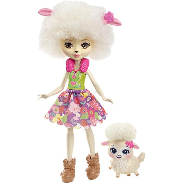 Кукла-овечка Enchantimals Лорна ЛэмбБренды кукол<br>Характеристики товара:<br><br>• возраст: от 3 лет;<br>• пол: девочка;<br>• материал: пластик, текстиль<br>• высота куклы: 15 см;<br>• в комплекте : кукла, фигурка питомца; <br>• подвижные руки, ноги и голова кукол;<br>• мягкие волосы, которые можно расчесывать;                                         <br>• страна-производитель: Индонезия;                                    <br>• размер упаковки: 5,5х10х32,5 см.<br><br>Новинка от Mattel!!!<br>Перед вами Лорна Барашка и ее милая пушистая овечка Флаг. Они так похожи! У Лорны есть ушки, носик и кудрявые волосы прямо как у ее зверька. Её наряд просто роскошен: меховой розовый воротник, зелёный топ и пышная юбка с цветочным принтом. А еще на ножках нашей героини красуются туфельки в виде овечек, дополняющие образ.<br><br>У Флаг милая мордочка, лапки и ушки, большие глазки и пушистые кудряшки. <br><br>Куклу Лорна Барашка от Mattel можно купить в нашем интернет-магазине.<br><br>Ширина мм: 218<br>Глубина мм: 132<br>Высота мм: 58<br>Вес г: 94<br>Возраст от месяцев: 72<br>Возраст до месяцев: 120<br>Пол: Женский<br>Возраст: Детский<br>SKU: 6739702