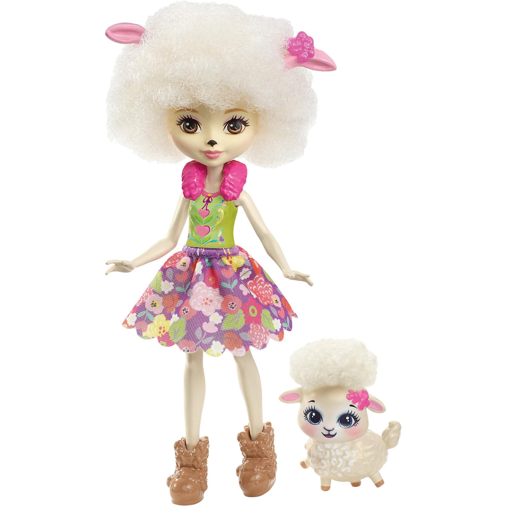 Кукла-овечка Enchantimals Лорна ЛэмбМини-куклы<br>Характеристики товара:<br><br>• возраст: от 3 лет;<br>• пол: девочка;<br>• материал: пластик, текстиль<br>• высота куклы: 15 см;<br>• в комплекте : кукла, фигурка питомца; <br>• подвижные руки, ноги и голова кукол;<br>• мягкие волосы, которые можно расчесывать;                                         <br>• страна-производитель: Индонезия;                                    <br>• размер упаковки: 5,5х10х32,5 см.<br><br>Новинка от Mattel!!!<br>Перед вами Лорна Барашка и ее милая пушистая овечка Флаг. Они так похожи! У Лорны есть ушки, носик и кудрявые волосы прямо как у ее зверька. Её наряд просто роскошен: меховой розовый воротник, зелёный топ и пышная юбка с цветочным принтом. А еще на ножках нашей героини красуются туфельки в виде овечек, дополняющие образ.<br><br>У Флаг милая мордочка, лапки и ушки, большие глазки и пушистые кудряшки. <br><br>Куклу Лорна Барашка от Mattel можно купить в нашем интернет-магазине.<br><br>Ширина мм: 125<br>Глубина мм: 55<br>Высота мм: 215<br>Вес г: 150<br>Возраст от месяцев: 72<br>Возраст до месяцев: 120<br>Пол: Женский<br>Возраст: Детский<br>SKU: 6739702