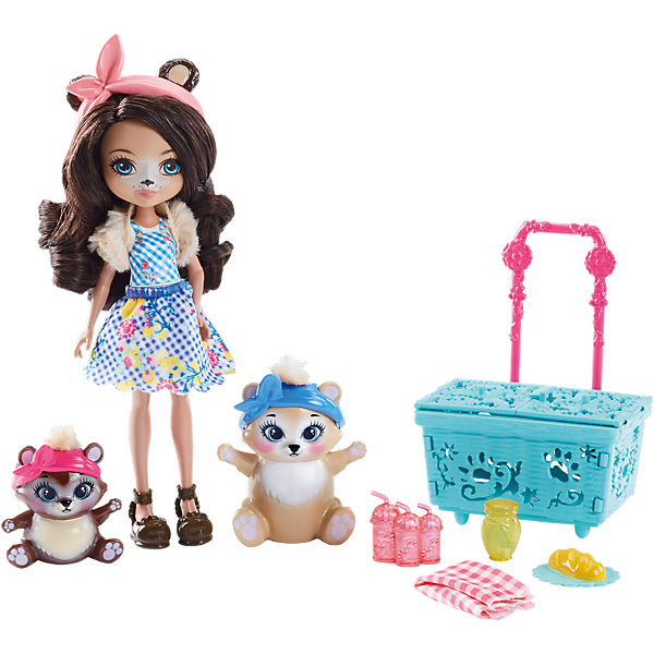 Набор с куклой Enchantimals Пикник с медведемКуклы<br>Характеристики товара:<br><br>• возраст: от 3 лет;<br>• пол: девочка;<br>• материал: пластик, текстиль<br>• высота куклы: 15 см;<br>• в комплекте : кукла, 2  фигурки медвежат и аксессуары; <br>• подвижные руки, ноги и голова кукол;<br>• мягкие волосы, которые можно расчесывать;                                         <br>• страна-производитель: Индонезия;                                    <br>• размер упаковки: 5,5х10х32,5 см.<br><br>Новинка от Mattel!!!<br>Представляем вашему вниманию интересный игровой набор, с которым можно разыграть сценку пикника на природе, на который отправились Брэн вместе со своими медвежатами.<br><br>У Брэн медвежьи ушки и носик. А еще у нее роскошные каштановые локоны и голубые глазки. Она одета в клетчатое платье и меховую накидку, а на ножках у нее туфельки в форме медвежат. Вместе с ней в пикнике участвуют два ее зверька: светленький медвежонок побольше и темненький поменьше. <br><br>У них с собой очаровательная голубенькая корзинка с розовой ручкой. У корзинки открывается крышечка, а, значит, внутрь можно положить всё необходимое. Например, посуду, продукты и клетчатый плед. <br><br>Игровой набор «Пикник с медведем» от Mattel можно купить в нашем интернет-магазине.<br>Ширина мм: 257; Глубина мм: 223; Высота мм: 66; Вес г: 195; Возраст от месяцев: 72; Возраст до месяцев: 120; Пол: Женский; Возраст: Детский; SKU: 6739703;