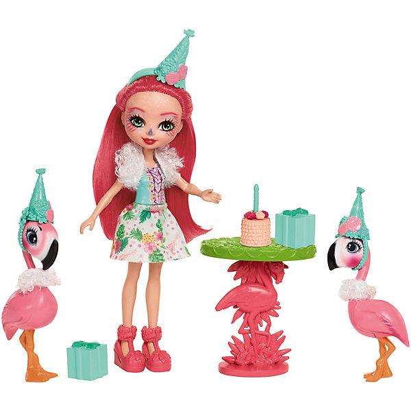 Набор с куклой Enchantimals День рождения фламингоБренды кукол<br>Характеристики товара:<br><br>• возраст: от 3 лет;<br>• пол: девочка;<br>• материал: пластик, текстиль<br>• высота куклы: 15 см;<br>• в комплекте : кукла, 2 фигурки фламинго и аксессуары; <br>• подвижные руки, ноги и голова кукол;<br>• мягкие волосы, которые можно расчесывать;                                         <br>• страна-производитель: Индонезия;                                    <br>• размер упаковки: 5,5х10х32,5 см.<br><br>Новинка от Mattel!!!<br>Среди героев волшебного мира Enchantimals, девочка Фэнси Фламинго выделяется своим очарованием и грациозностью.<br><br>Для празднования дня рождения своего друга, Фэнси оделась особенно ярко: красивая юбка с тропическим разноцветным принтом, яркая майка, пушистая накидка на плечи и зелёный колпак на голове. Веселая героиня мистического леса очаровывает длинными розовыми волосами, розовыми туфлями и чертами лица птицы фламинго. <br><br>Стол имеет зеленый верх и розовую ножку в форме фламинго. Торт для дня рождения можно поставить на стол. Сюда же положить и два подарка, обернутых лентой и бантиком сверху.<br><br>Её два друга-фламинго - один выше, другой чуть меньше. Выглядят прикольно в своих зелёных колпаках и пушистых накидках на шеях. <br><br>Игровой набор «День рождения Фламинго» от Mattel можно купить в нашем интернет-магазине.<br>Ширина мм: 254; Глубина мм: 220; Высота мм: 66; Вес г: 195; Возраст от месяцев: 72; Возраст до месяцев: 120; Пол: Женский; Возраст: Детский; SKU: 6739704;