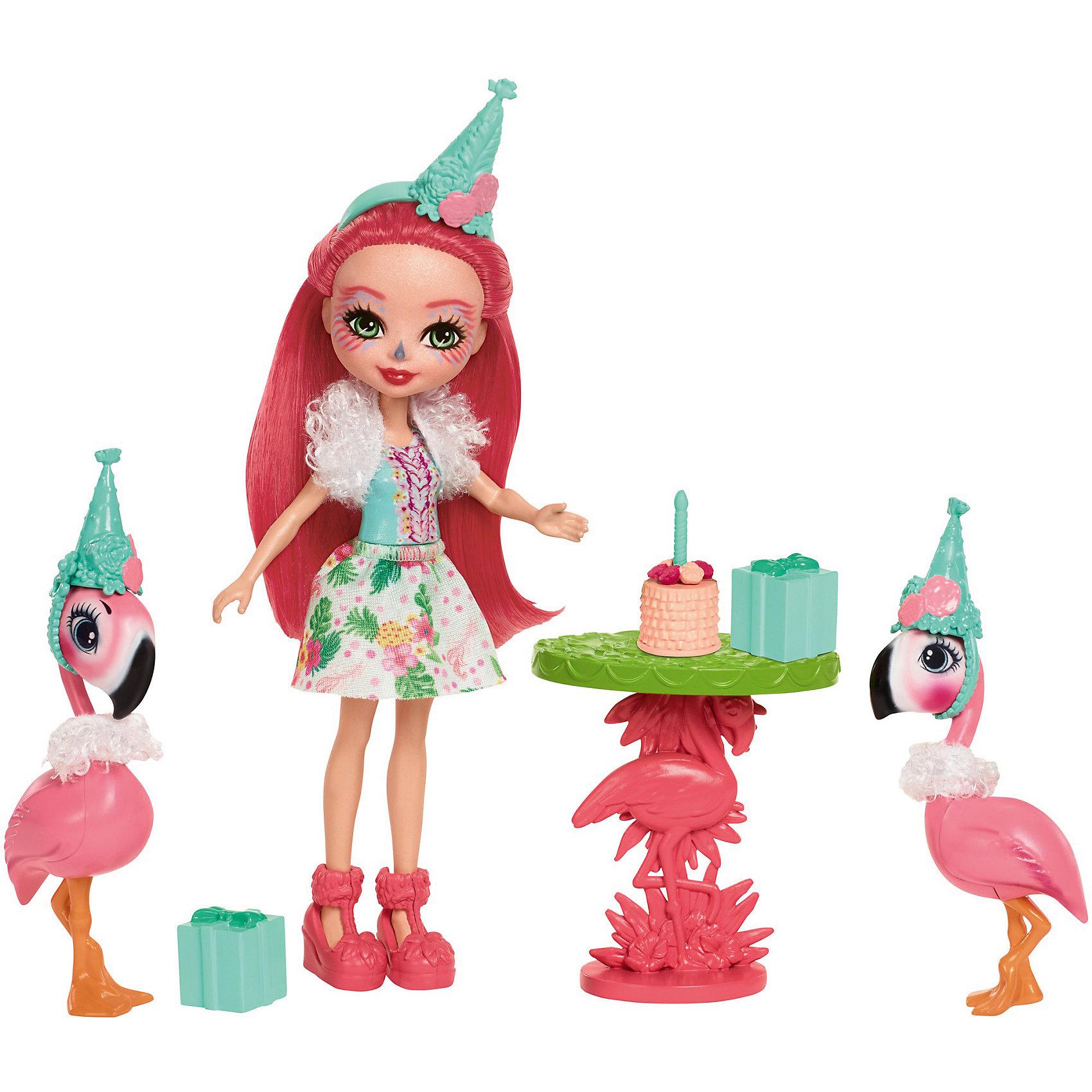 Набор с куклой Enchantimals День рождения фламингоБренды кукол<br>Характеристики товара:<br><br>• возраст: от 3 лет;<br>• пол: девочка;<br>• материал: пластик, текстиль<br>• высота куклы: 15 см;<br>• в комплекте : кукла, 2 фигурки фламинго и аксессуары; <br>• подвижные руки, ноги и голова кукол;<br>• мягкие волосы, которые можно расчесывать;                                         <br>• страна-производитель: Индонезия;                                    <br>• размер упаковки: 5,5х10х32,5 см.<br><br>Новинка от Mattel!!!<br>Среди героев волшебного мира Enchantimals, девочка Фэнси Фламинго выделяется своим очарованием и грациозностью.<br><br>Для празднования дня рождения своего друга, Фэнси оделась особенно ярко: красивая юбка с тропическим разноцветным принтом, яркая майка, пушистая накидка на плечи и зелёный колпак на голове. Веселая героиня мистического леса очаровывает длинными розовыми волосами, розовыми туфлями и чертами лица птицы фламинго. <br><br>Стол имеет зеленый верх и розовую ножку в форме фламинго. Торт для дня рождения можно поставить на стол. Сюда же положить и два подарка, обернутых лентой и бантиком сверху.<br><br>Её два друга-фламинго - один выше, другой чуть меньше. Выглядят прикольно в своих зелёных колпаках и пушистых накидках на шеях. <br><br>Игровой набор «День рождения Фламинго» от Mattel можно купить в нашем интернет-магазине.<br><br>Ширина мм: 254<br>Глубина мм: 220<br>Высота мм: 66<br>Вес г: 195<br>Возраст от месяцев: 72<br>Возраст до месяцев: 120<br>Пол: Женский<br>Возраст: Детский<br>SKU: 6739704