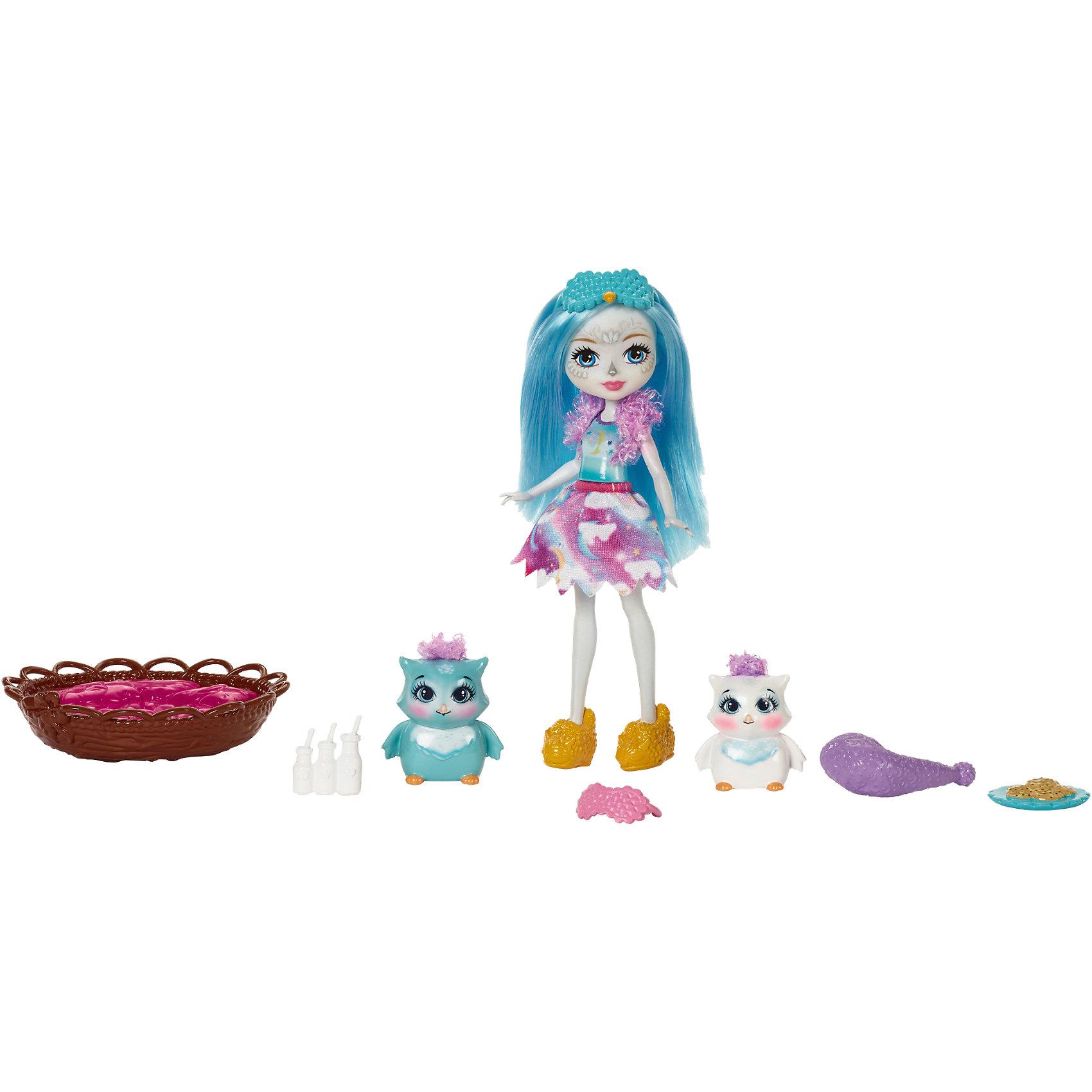 Набор с куклой Enchantimals Ночевка с совойМини-куклы<br>Характеристики товара:<br><br>• возраст: от 3 лет;<br>• пол: девочка;<br>• материал: пластик, текстиль<br>• высота куклы: 15 см;<br>• в комплекте : кукла, 2 фигурки совят и аксессуары; <br>• подвижные руки, ноги и голова кукол;<br>• мягкие волосы, которые можно расчесывать;                                         <br>• страна-производитель: Индонезия;                                    <br>• размер упаковки: 5,5х10х32,5 см.<br><br>Новинка от Mattel!!!<br>Перед вами замечательный набор, с которым можно будет придумать массу увлекательных историй и долго весело играть.<br><br>Кукла-сова с питомцами-совами имеет яркие голубые волосы и красочный наряд, состоящий из платьица и болеро. Ее питомцами являются два очаровательных совенка. Для более интересной игры к совятам прилагаются кроватка, мисочка с кормом, колпак и очки для сна. <br><br>Игровой набор «Сказка на ночь» от Mattel можно купить в нашем интернет-магазине.<br><br>Ширина мм: 253<br>Глубина мм: 218<br>Высота мм: 45<br>Вес г: 214<br>Возраст от месяцев: 72<br>Возраст до месяцев: 120<br>Пол: Женский<br>Возраст: Детский<br>SKU: 6739705
