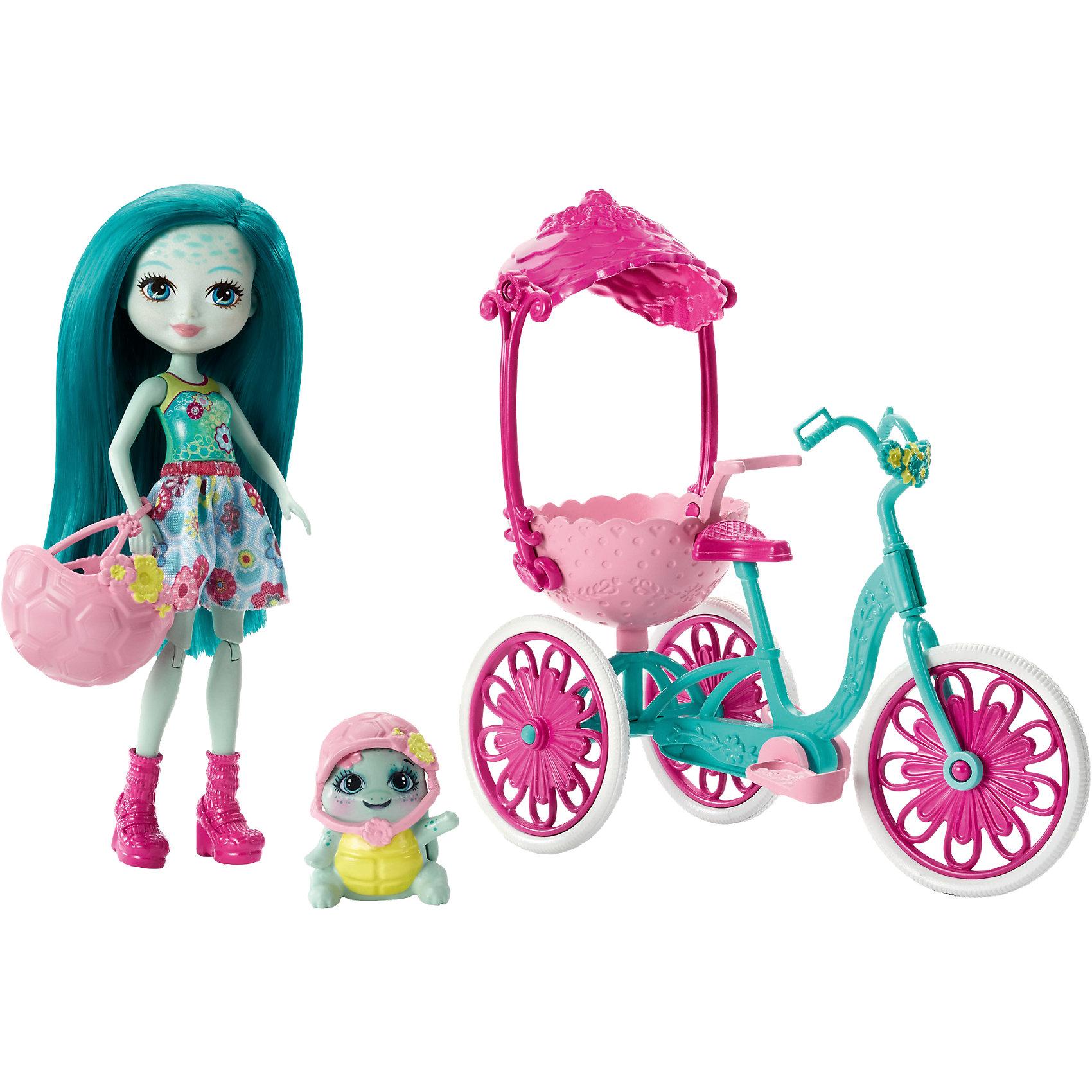 Кукла Enchantimals Тайли Черепаша на трехколесном велосипедеМини-куклы<br>Характеристики товара:<br><br>• возраст: от 3 лет;<br>• пол: девочка;<br>• материал: пластик, текстиль<br>• высота куклы: 15 см;<br>• в комплекте : кукла, питомец и аксессуары; <br>• подвижные руки, ноги и голова кукол;<br>• ноги сгибаются в коленях;<br>• мягкие волосы, которые можно расчесывать;                                         <br>• страна-производитель: Индонезия;                                    <br>• размер упаковки: 5,5х10х32,5 см.<br><br>Новинка от Mattel!!!<br>Перед вами замечательный набор, с которым можно будет придумать массу увлекательных историй и долго весело играть.<br><br>Корзина с навесом сзади позволяет питомцу Bounder ездить вместе со своей хозяйкой. Посадите куклу Тайли на сиденье, ножки поставьте на педали, а ручки положите на руль, затем толкните и колёса поедут.<br> <br>Кукла Тайли одета в яркое платье с цветочным принтом и ??розовые модные сапожки. Розовый шлем с желтым цветком можно одеть на голову. Выглядит круто с ее длинными волосами. Такой же есть и у ее питомца. Её питомец Bounder то же прикольно смотрится со своим зеленым телом и жёлтой раковиной. <br><br>Игровой набор «Прогулка на велосипеде» от Mattel можно купить в нашем интернет-магазине.<br><br>Ширина мм: 281<br>Глубина мм: 220<br>Высота мм: 76<br>Вес г: 214<br>Возраст от месяцев: 72<br>Возраст до месяцев: 120<br>Пол: Женский<br>Возраст: Детский<br>SKU: 6739706