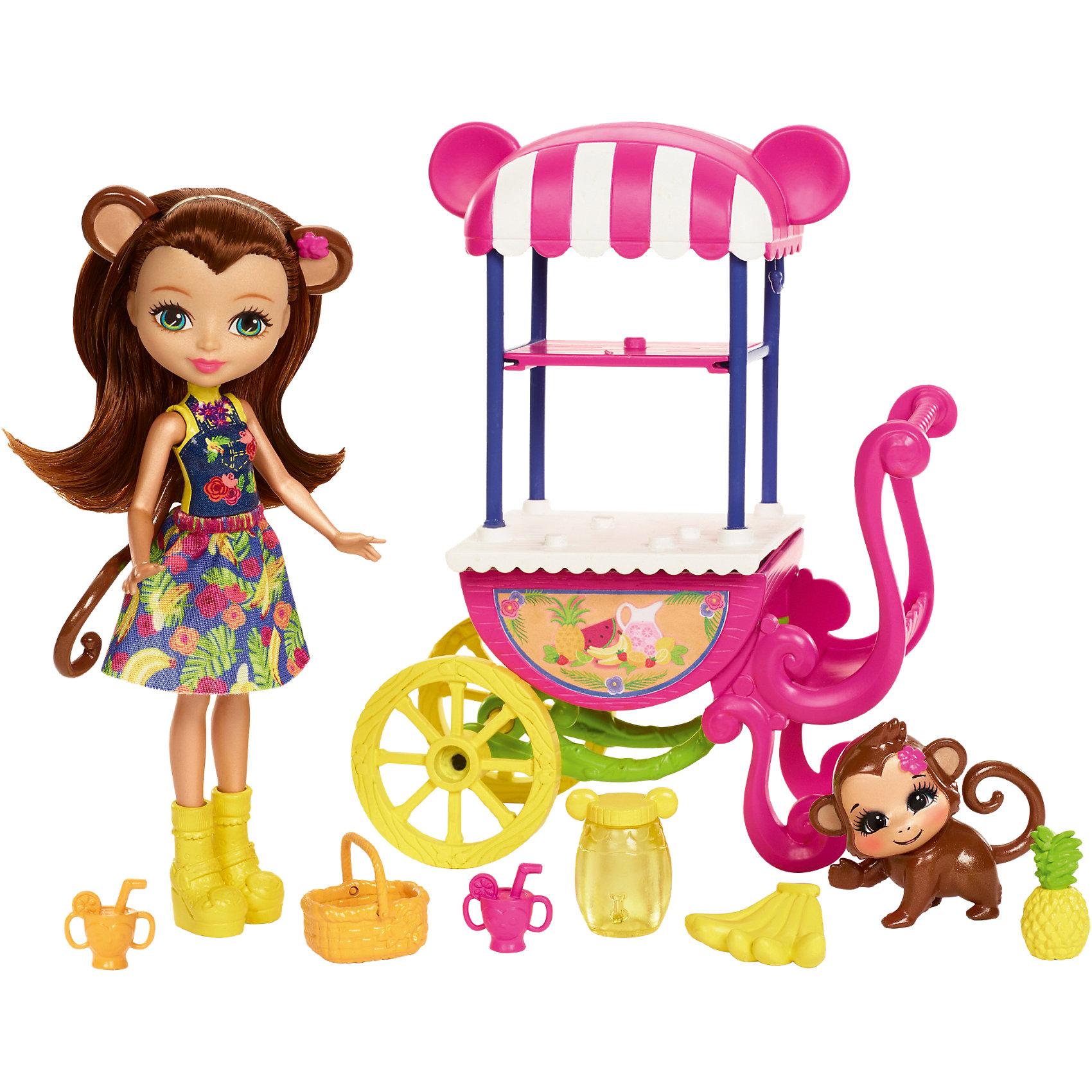 Кукла Enchantimals Мерит Мартыша с тележкой для фруктовМини-куклы<br>Характеристики товара:<br><br>• возраст: от 3 лет;<br>• пол: девочка;  <br>• высота куклы: 15 см;<br>• в комплекте : кукла, питомец и аксессуары; <br>• подвижные руки, ноги и голова кукол;<br>• мягкие волосы, которые можно расчесывать;                                         <br>• страна-производитель: Индонезия;                                    <br>• размер упаковки: 5,5х10х32,5 см.<br><br>Новинка от Mattel!!!<br>Перед вами замечательный набор, с которым можно будет придумать массу увлекательных историй и долго весело играть.<br><br>У Мерит прекрасные волосы с ободком и звериными ушкам, которые добавляют необычность кукле. На ней надето красочное платьице и желтые сапожки. Куколка со своим питомцем решила угостить жителей зачарованного леса соками. Для этого ей понадобится тележка, соковыжималка и фрукты<br><br>Игровой набор «Фруктовая корзинка» можно купить в нашем интернет-магазине.<br><br>Ширина мм: 280<br>Глубина мм: 216<br>Высота мм: 68<br>Вес г: 276<br>Возраст от месяцев: 72<br>Возраст до месяцев: 120<br>Пол: Женский<br>Возраст: Детский<br>SKU: 6739707