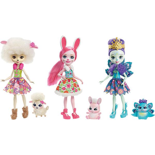 Набор из трех кукол со зверюшками EnchantimalsКуклы<br><br>Ширина мм: 258; Глубина мм: 223; Высота мм: 76; Вес г: 253; Возраст от месяцев: 72; Возраст до месяцев: 120; Пол: Женский; Возраст: Детский; SKU: 6739709;