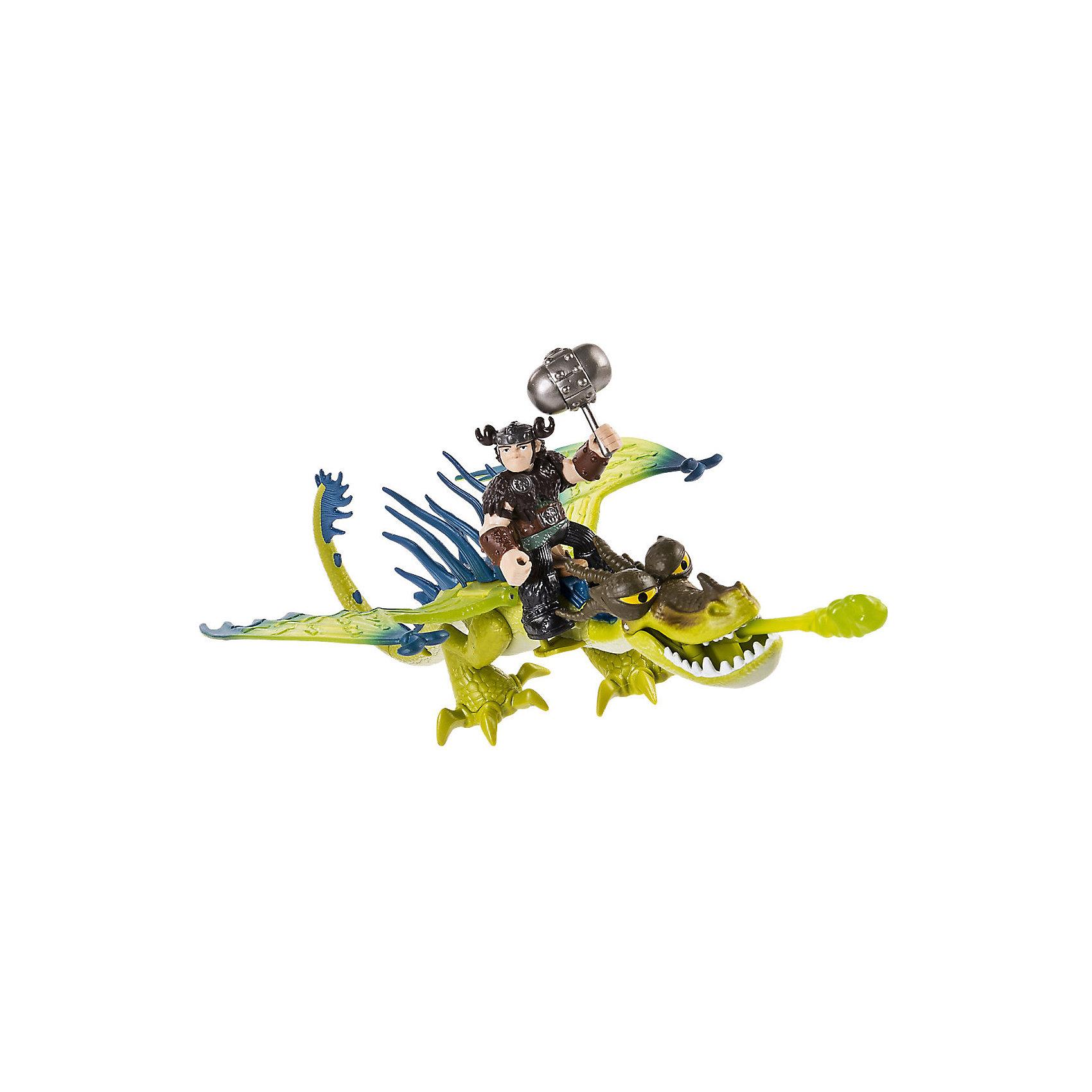 Набор Сморкала и Кривоклык, зеленый дракон, Как приручить дракона, Spin MasterКоллекционные и игровые фигурки<br>Характеристики товара:<br><br>• возраст от 4 лет;<br>• материал: пластик;<br>• в комплекте: фигурка дракона, фигурка Сморкала, молот, заряд; <br>• подвижные фигурки;<br>• размер дракона 18 см;<br>• высота всадника 6 см;<br>• размер упаковки 29,2х21х10,2 см;<br>• вес упаковки 320 гр.;<br>• страна производитель: Китай.<br><br>Набор «Сморкала и Кривоклык» Как приручить дракона Spin Master создан по мотивам известного мультфильма «Как приручить дракона». В комплекте фигурка викинга Сморкала и его дракона Кривоклыка. У Сморкала в руках грозный молот, а дракон может стрелять снарядом. С фигурками можно устроить захватывающие сражения или воспроизводить сценки из мультфильма. У дракона подвижные лапы и крылья, а у Сморкала подвижные руки и ноги. Игрушки изготовлены из качественного пластика.<br><br>Набор «Сморкала и Кривоклык» Как приручить дракона Spin Master можно приобрести в нашем интернет-магазине.<br><br>Ширина мм: 295<br>Глубина мм: 213<br>Высота мм: 106<br>Вес г: 201<br>Возраст от месяцев: 36<br>Возраст до месяцев: 96<br>Пол: Унисекс<br>Возраст: Детский<br>SKU: 6739773