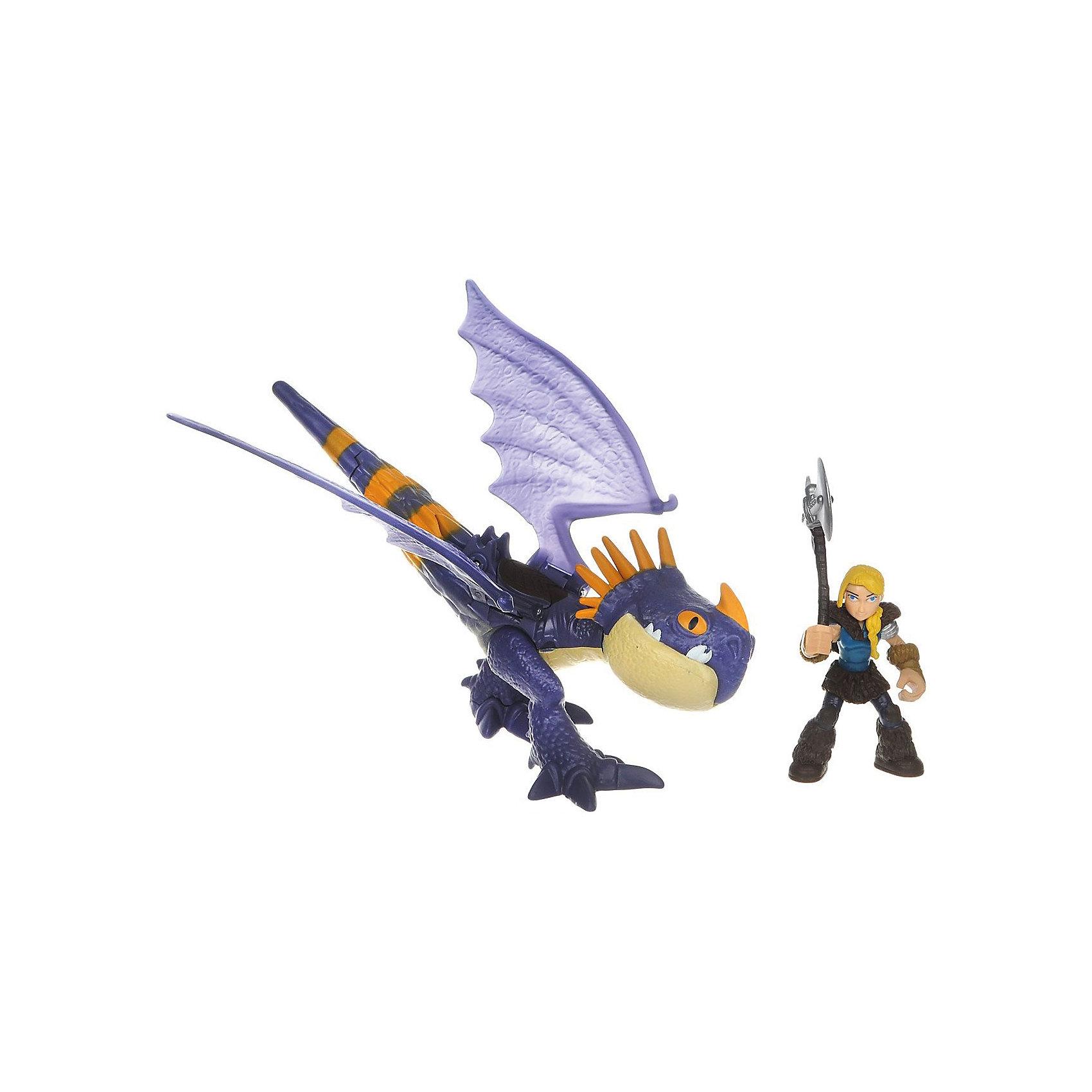 Набор Астрид и Громгильда, фиолетовый дракон, Как приручить дракона, Spin MasterКоллекционные и игровые фигурки<br>Характеристики товара:<br><br>• возраст от 4 лет;<br>• материал: пластик;<br>• в комплекте: фигурка дракона, фигурка Астрид, оружие, заряд; <br>• размер дракона 18 см;<br>• высота всадника 6 см;<br>• размер упаковки 29,2х21х10,2 см;<br>• вес упаковки 320 гр.;<br>• страна производитель: Китай.<br><br>Набор «Астрид и Громгильда» Как приручить дракона Spin Master создан по мотивам известного мультфильма «Как приручить дракона». В комплекте фигурка Астрид, подруги главного героя Иккинга, и ее верный дракон Громгильда. У Астрид в руках оружие, а дракон может стрелять снарядом. С фигурками можно устроить захватывающие сражения или воспроизводить сценки из мультфильма. У дракона подвижные лапы и крылья, а у Астрид подвижные руки и ноги. Игрушки изготовлены из качественного пластика.<br><br>Набор «Астрид и Громгильда» Как приручить дракона Spin Master можно приобрести в нашем интернет-магазине.<br><br>Ширина мм: 295<br>Глубина мм: 213<br>Высота мм: 106<br>Вес г: 201<br>Возраст от месяцев: 36<br>Возраст до месяцев: 96<br>Пол: Унисекс<br>Возраст: Детский<br>SKU: 6739775