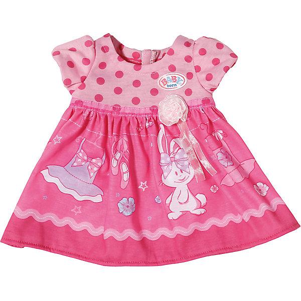 Платье для куклы, BABY born, темно-розовоеОдежда для кукол<br>Характеристики товара:<br><br>• возраст от 3 лет;<br>• материал: текстиль;<br>• в комплекте: платье; <br>• размер упаковки 22х14х3 см;<br>• вес упаковки 55 гр.;<br>• страна производитель: Китай.<br><br>Платье для куклы Baby Born темно-розовое разнообразит гардероб любимой куколки Baby Born от Zapf Creation. Розовое платье украшено принтом в виде зайчика. Платье сделано из качественного материала.<br><br>Платье для куклы Baby Born темно-розовое можно приобрести в нашем интернет-магазине.<br>Ширина мм: 200; Глубина мм: 136; Высота мм: 40; Вес г: 55; Возраст от месяцев: 36; Возраст до месяцев: 60; Пол: Женский; Возраст: Детский; SKU: 6739776;