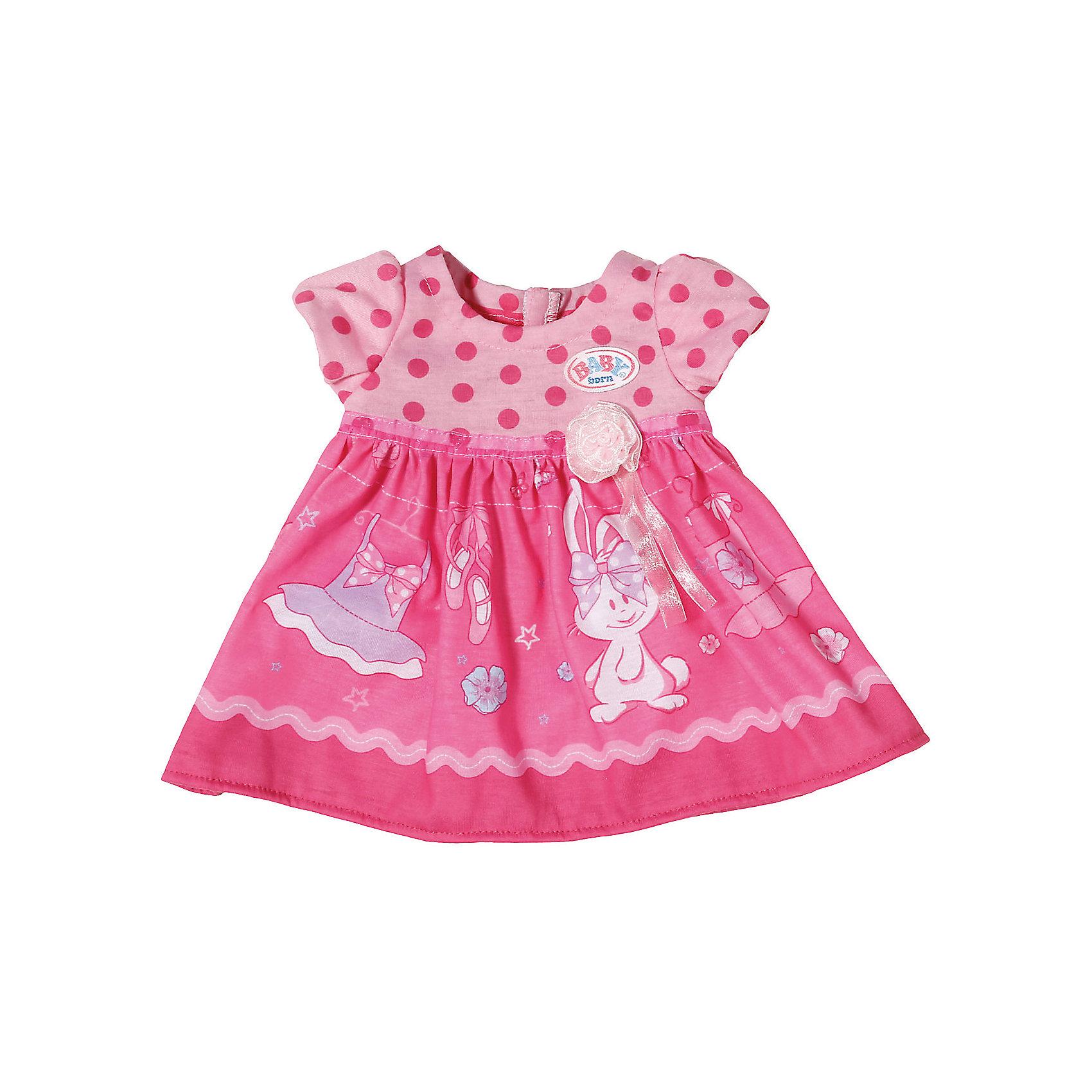 Платье для куклы, BABY born, темно-розовоеКукольная одежда и аксессуары<br>Характеристики товара:<br><br>• возраст от 3 лет;<br>• материал: текстиль;<br>• в комплекте: платье; <br>• размер упаковки 22х14х3 см;<br>• вес упаковки 55 гр.;<br>• страна производитель: Китай.<br><br>Платье для куклы Baby Born темно-розовое разнообразит гардероб любимой куколки Baby Born от Zapf Creation. Розовое платье украшено принтом в виде зайчика. Платье сделано из качественного материала.<br><br>Платье для куклы Baby Born темно-розовое можно приобрести в нашем интернет-магазине.<br><br>Ширина мм: 200<br>Глубина мм: 136<br>Высота мм: 40<br>Вес г: 55<br>Возраст от месяцев: 36<br>Возраст до месяцев: 60<br>Пол: Женский<br>Возраст: Детский<br>SKU: 6739776