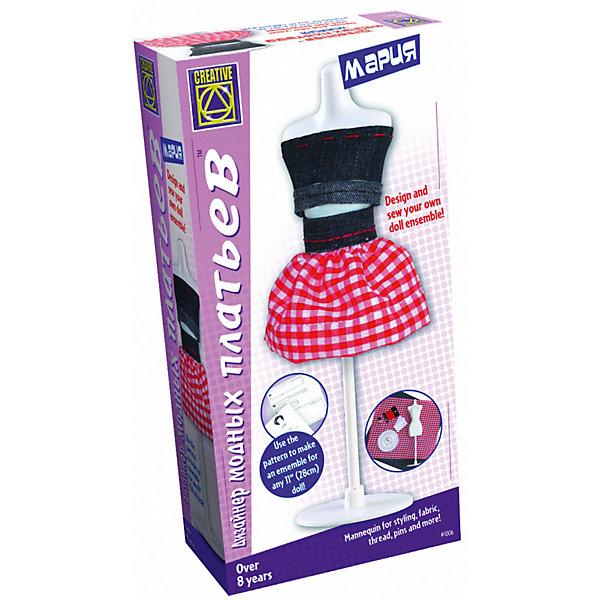 Дизайнер модных платьев Мария, CreativeШитьё<br>Характеристики:<br><br>• возраст: от 8 лет<br>• в наборе: пластиковый манекен (высотой 22 см); набор английских булавок (40 шт.); 2 отреза ткани - джинсовая ткань (20x20 см), клетчатая ткань (20x20 см); катушка швейных ниток (около 9 метров); катушка вышивальных ниток (около 9 метров); игла; 2 застежки-липучки; выкройки, эскизы, инструкция<br>• дополнительно понадобятся: ножницы, линейка и цветной карандаш<br>• упаковка: картонная коробка<br>• размер упаковки: 25,5х13х6 см.<br>• вес: 279 гр.<br><br>Пришло время воплотить мечту в реальность и стать дизайнером модной и стильной одежды.<br><br>Придумай фасон и сшей свой вариант наряда для куклы. Используй ткань различных фактур и расцветок и создавай неповторимый стиль. Прилагаемые выкройки подойдут для любой куклы высотой 28 см. Манекен, ткань, нитки, булавки и многое другое в готовом комплекте юной швеи.<br><br>Набор Дизайнер модных платьев Мария, Creative (Креатив) можно купить в нашем интернет-магазине.<br><br>Ширина мм: 255<br>Глубина мм: 130<br>Высота мм: 60<br>Вес г: 279<br>Возраст от месяцев: 96<br>Возраст до месяцев: 2147483647<br>Пол: Женский<br>Возраст: Детский<br>SKU: 6741846