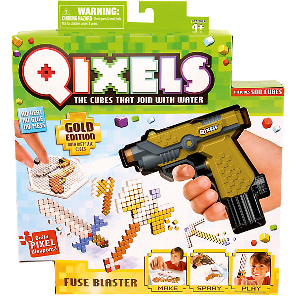 QIXELS Набор для творчества  Водяной бластерПластмассовые конструкторы<br>Qixels – кубики, которые скрепляются при помощи воды! Создай свой дизайн, сбрызни водой из водяного бластера, оставь на 30 минут и фигурка готова! Состав набора: водяной бластер, 500 кубиков, 2 дизайн лотка, 4 дизайн лекала, 2 опоры, 2 базы, емкость для кубиков и инструкция.<br>Ширина мм: 55; Глубина мм: 260; Высота мм: 290; Вес г: 423; Возраст от месяцев: 60; Возраст до месяцев: 1188; Пол: Унисекс; Возраст: Детский; SKU: 6742241;