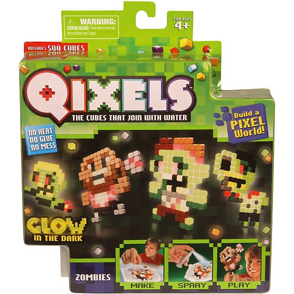 QIXELS Набор для творчества Зомби (светится в темноте)Пластмассовые конструкторы<br>Qixels – кубики, которые скрепляются при помощи воды! Создай свой дизайн, сбрызни водой, оставь на 30 минут и фигурка готова!  Состав набора: 500 светящихся в темноте кубиков, 4 дизайн лекала, 1 опора, 1 база, дизайн лоток, распылитель воды и инструкция.<br><br>Ширина мм: 40<br>Глубина мм: 185<br>Высота мм: 210<br>Вес г: 233<br>Возраст от месяцев: 60<br>Возраст до месяцев: 1188<br>Пол: Унисекс<br>Возраст: Детский<br>SKU: 6742242