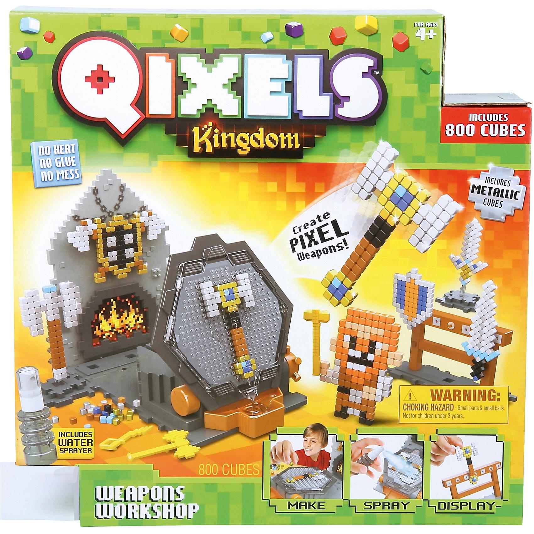 QIXELS Набор для творчества Королевство. Оружейная мастерская.Пластмассовые конструкторы<br>Qixels – кубики, которые скрепляются при помощи воды! Состав набора: 800 кубиков, распылитель воды, 6 дизайн лекал, 2 дизайн платформы, 3 опоры, 3 базы, 5 аксессуаров в виде оружия, стенд для оружия, элемент в виде пола и стены с камином, поворотный механизм для конструирования и сушки фигурок, емкость для кубиков и инструкция.<br><br>Ширина мм: 80<br>Глубина мм: 290<br>Высота мм: 290<br>Вес г: 890<br>Возраст от месяцев: 60<br>Возраст до месяцев: 1188<br>Пол: Унисекс<br>Возраст: Детский<br>SKU: 6742243