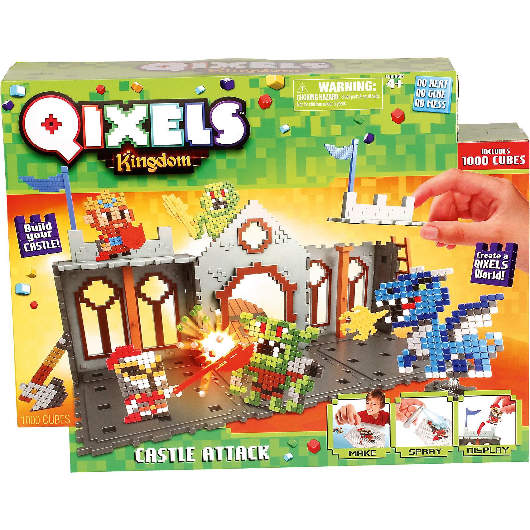 QIXELS Набор для творчества Королевство. Захват замка.Пластмассовые конструкторы<br>Qixels – кубики, которые скрепляются при помощи воды! Состав набора: 1000 кубиков, распылитель воды, 6 дизайн лекал, 2 дизайн лотка, 6 опор, 2 базы, 4 аксессуара, составные части для построения замка (пол, стены, колонны, дверь, башенки, флаги, лестница), емкость для кубиков и инструкция.<br><br>Ширина мм: 80<br>Глубина мм: 370<br>Высота мм: 290<br>Вес г: 1103<br>Возраст от месяцев: 60<br>Возраст до месяцев: 1188<br>Пол: Унисекс<br>Возраст: Детский<br>SKU: 6742244