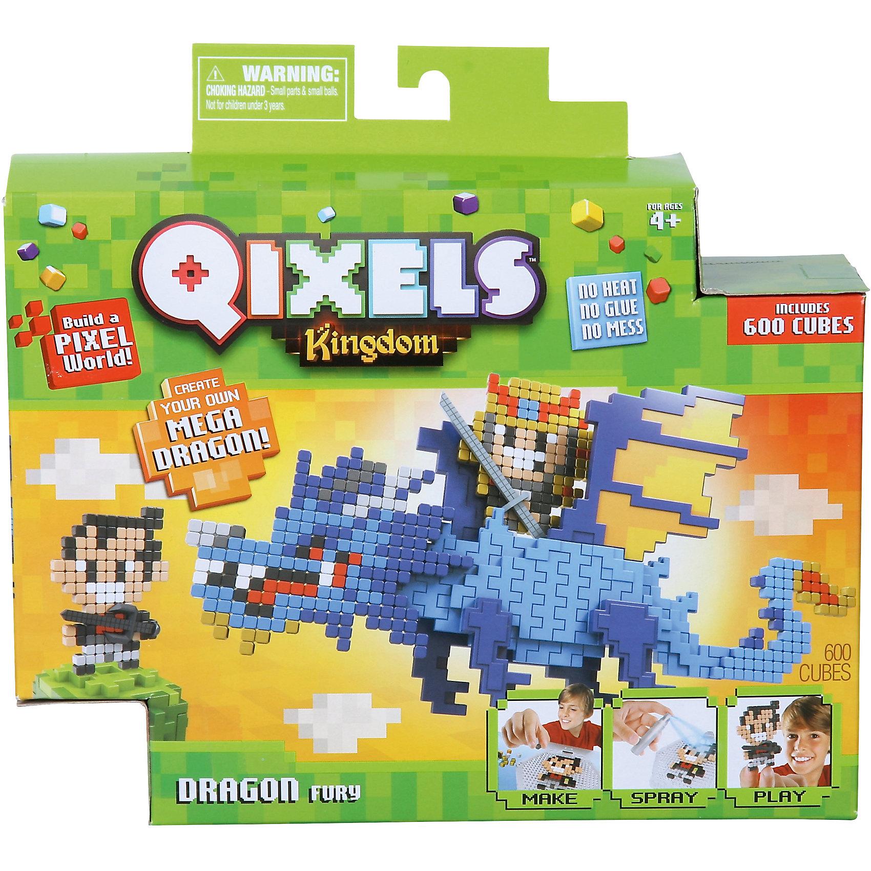 QIXELS Набор для творчества Королевство. Гнев дракона.Пластмассовые конструкторы<br>Qixels – кубики, которые скрепляются при помощи воды! Создай свой дизайн, сбрызни водой, оставь на 30 минут и фигурка готова! Состав набора: резервуар для воды, 600 кубиков, 4 дизайн лекала, элемент с 3D дизайном (состоящий из четырех частей), опора, база, 2 аксессуара, набор стикеров, емкость для кубиков и инструкция.<br><br>Ширина мм: 60<br>Глубина мм: 230<br>Высота мм: 215<br>Вес г: 418<br>Возраст от месяцев: 60<br>Возраст до месяцев: 1188<br>Пол: Унисекс<br>Возраст: Детский<br>SKU: 6742245