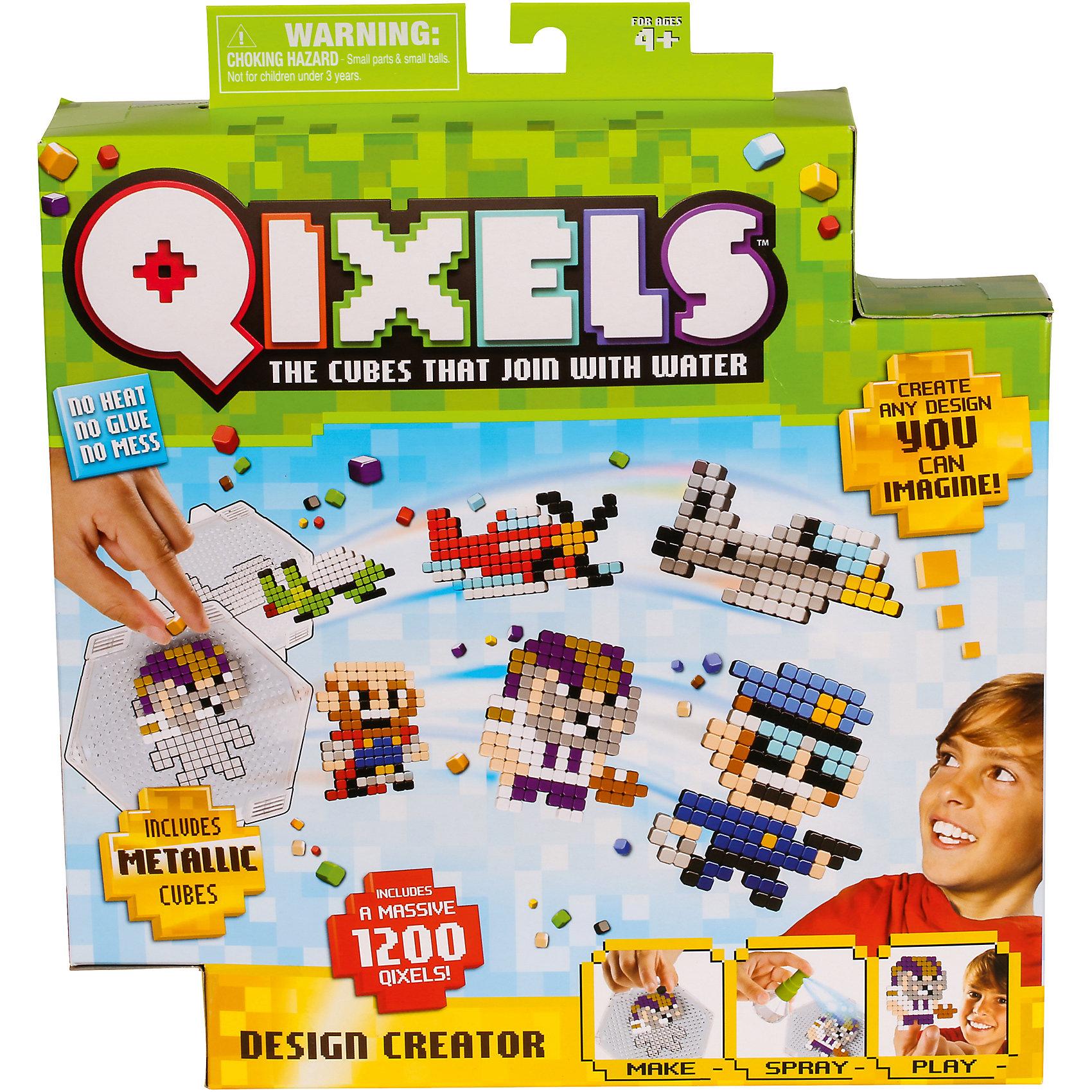 QIXELS Набор для творчества ДизайнерПластмассовые конструкторы<br>Qixels – кубики, которые скрепляются при помощи воды! Создай свой дизайн, сбрызни водой, оставь на 30 минут и фигурка готова! В набор входят черно-белые лекала силуэты, что позволяет проявить фантазию и создать свои собственные уникальные дизайны. Состав набора: 1200 кубиков, 8 дизайн лекал, дизайн лоток, емкость для кубиков, распылитель воды и инструкция.<br><br>Ширина мм: 55<br>Глубина мм: 290<br>Высота мм: 260<br>Вес г: 428<br>Возраст от месяцев: 60<br>Возраст до месяцев: 1188<br>Пол: Унисекс<br>Возраст: Детский<br>SKU: 6742250