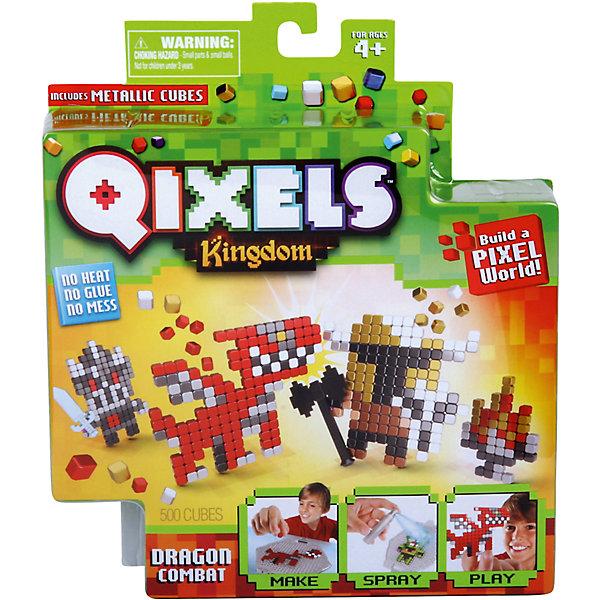 QIXELS Набор для творчества Поединок с дракономПластмассовые конструкторы<br>Qixels – кубики, которые скрепляются при помощи воды! Создай свой дизайн, сбрызни водой, оставь на 30 минут и фигурка готова! Состав набора: резервуар для воды, 500 кубиков, 2 дизайн лекала, опора, база, 2 аксессуара, емкость для кубиков и инструкция.<br><br>Ширина мм: 40<br>Глубина мм: 185<br>Высота мм: 210<br>Вес г: 233<br>Возраст от месяцев: 60<br>Возраст до месяцев: 1188<br>Пол: Унисекс<br>Возраст: Детский<br>SKU: 6742253