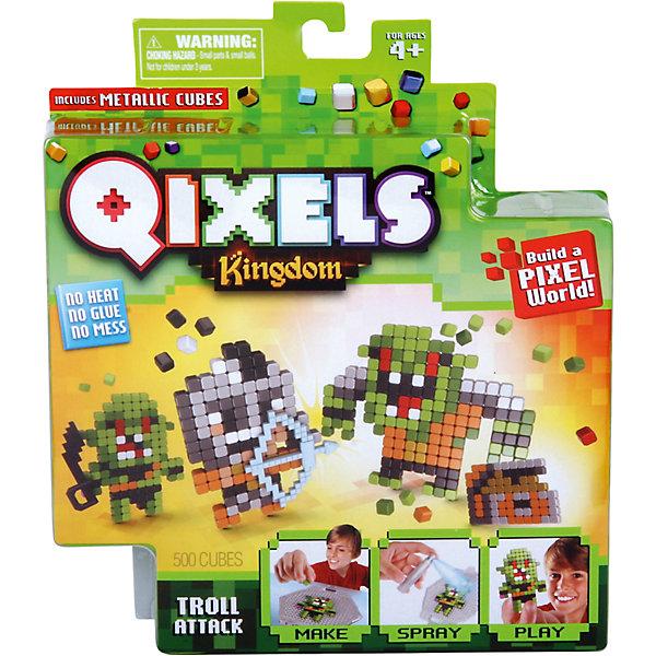 QIXELS Набор для творчества Атака троллейПластмассовые конструкторы<br>Qixels – кубики, которые скрепляются при помощи воды! Создай свой дизайн, сбрызни водой, оставь на 30 минут и фигурка готова! Состав набора: резервуар для воды, 500 кубиков, 2 дизайн лекала, опора, база, 2 аксессуара, емкость для кубиков и инструкция.<br>Ширина мм: 40; Глубина мм: 185; Высота мм: 210; Вес г: 233; Возраст от месяцев: 60; Возраст до месяцев: 1188; Пол: Унисекс; Возраст: Детский; SKU: 6742255;