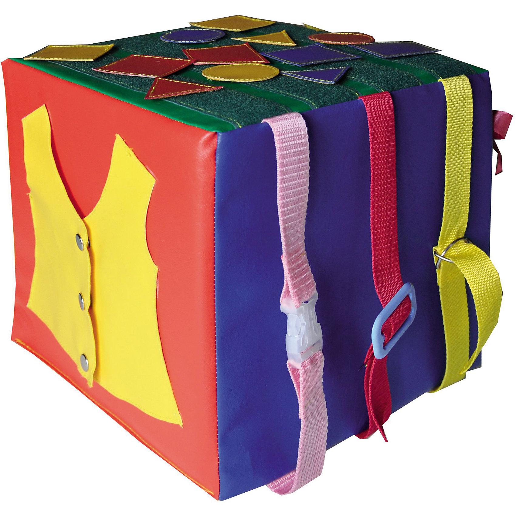 Кубик Умные ладошки, RomanaМебель<br>Характеристики:<br><br>• развивает мышление и мелкую моторику;<br>• знакомит ребенка с геометрическими фигурами;<br>• развивающие элементы: бантики, фигурки на липучке, жилет на кнопках, шнурки-бантики, 3 молнии, 3 пряжки;<br>• размер кубика: 30х30х30 см;<br>• материал: винилискожа, поролон;<br>• размер упаковки: 30х30х30 см;<br>• вес: 1000 грамм.<br><br>Кубик Умные ладошки - отличный вариант развивающих игр для детей дошкольного и младшего школьного возраста. Каждая сторона кубика имеет разные развивающие элементы: фигурки на липучках, бантики, шнурки, жилет на кнопках, молнии и пряжки. <br><br>Игрушка познакомит ребенка с геометрическими фигурами, а также поможет развить мышление и мелкую моторику. К тому же, ребенок научится справляться с разными застежками и завязками, что, несомненно, пригодится ему в жизни. Например, после игр с кубиком ребенок сможет самостоятельно завязать шнурки и застегнуть одежду. <br><br>Кубик изготовлен из поролона и винилискожи, благодаря чему ребенок не поранится и не ушибется при случайном падении на кубик. В случае необходимости вы легко очистите игрушку от загрязнений с помощью обычных моющих средств. <br><br>Кубик Умные ладошки подходит для детских образовательных учреждений и для домашнего использования.<br><br>Кубик Умные ладошки, Romana (Романа) вы можете купить в нашем интернет-магазине.<br><br>Ширина мм: 300<br>Глубина мм: 300<br>Высота мм: 300<br>Вес г: 1000<br>Возраст от месяцев: 36<br>Возраст до месяцев: 60<br>Пол: Унисекс<br>Возраст: Детский<br>SKU: 6742450