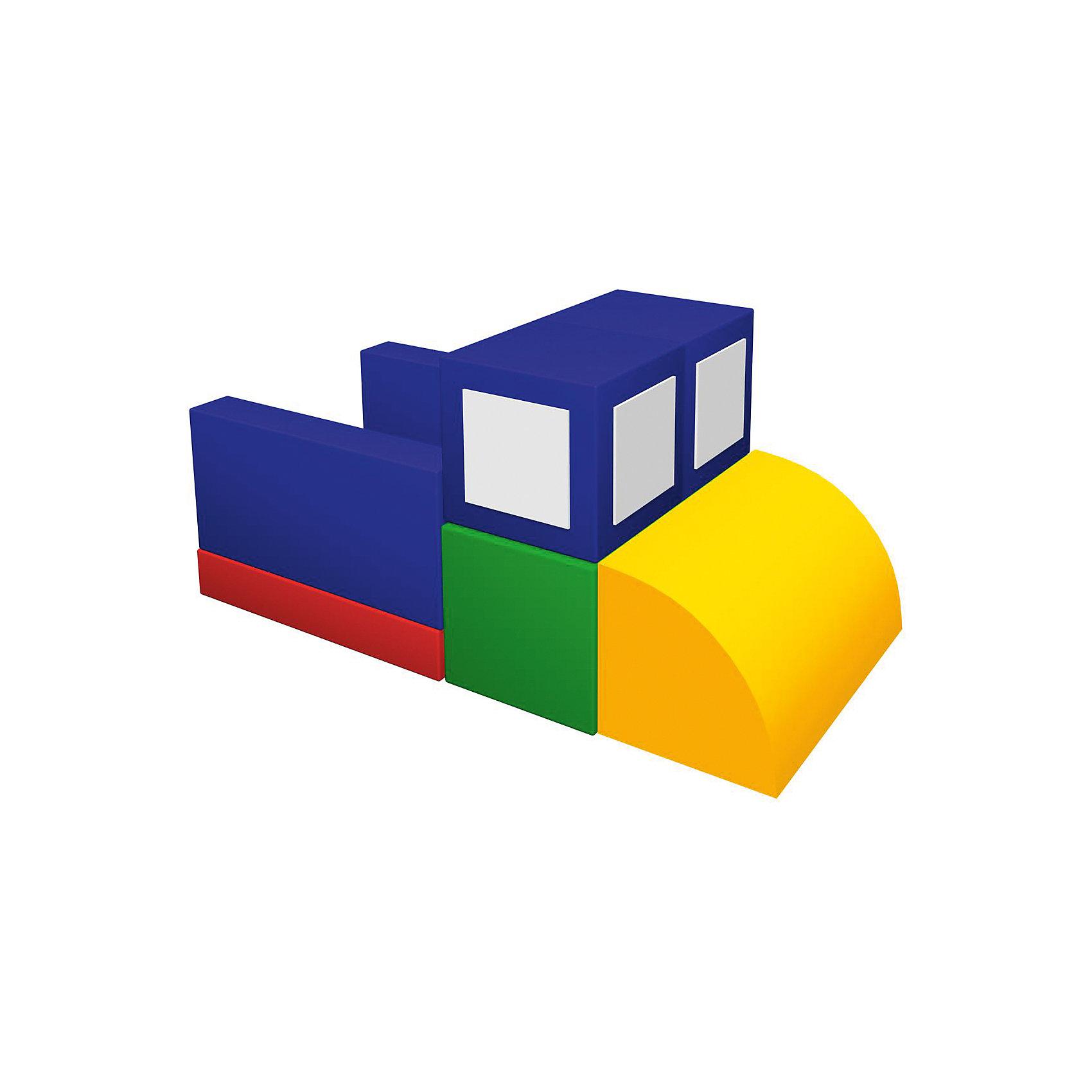 Игровой мягкий комплекс Самосвал, RomanaМебель<br>Мягкий игровой комплекс «Самосвал» - набор для детского строительства из больших разноцветных кубов. Обучает геометрическим формам, цветам и размерам. Развивает фантазию. Подходит как для детских дошкольных и младших школьных учреждений, так и для домашних развивающих игр. В комплекте: кубик, мат, прямоугольник, полуцилиндр. Габаритные размеры 1200 x 600 мм. Вес с упаковкой 8 кг<br><br>Ширина мм: 1200<br>Глубина мм: 600<br>Высота мм: 600<br>Вес г: 8000<br>Возраст от месяцев: 36<br>Возраст до месяцев: 60<br>Пол: Унисекс<br>Возраст: Детский<br>SKU: 6742451