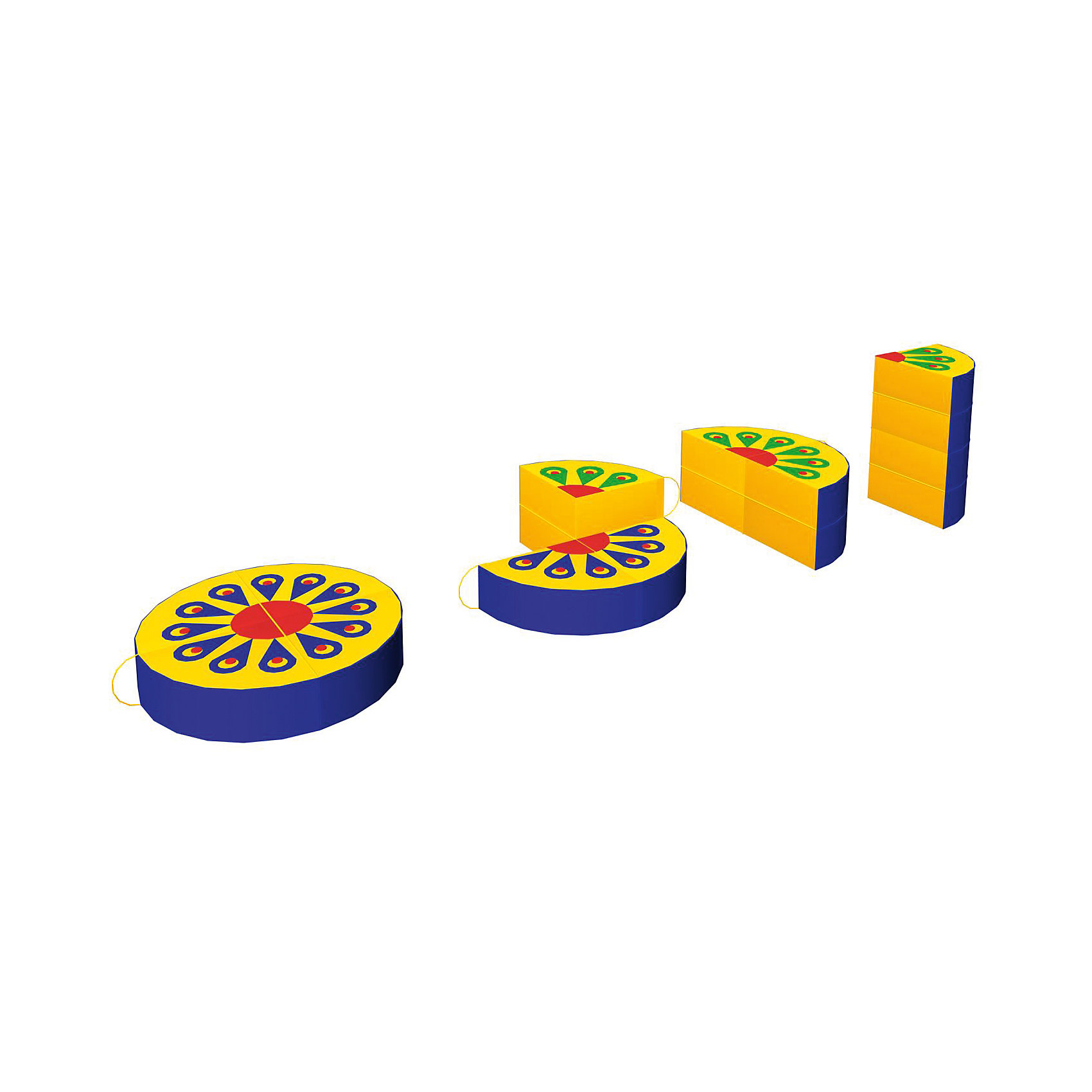 Игровая мебель Жар-птица, RomanaМебель<br>Характеристики:<br><br>• развивает фантазию, пространственное мышление, моторику рук;<br>• в комплекте: 4 фигуры;<br>• размер фигуры: 40х40х10 см;<br>• материал: винилискожа, поролон;<br>• размер упаковки: 80х80х10 см;<br>• вес: 1800 грамм.<br><br>Игровая мебель Жар-птица - универсальный набор из четырех мягких фигур. Сложив фигуры в круг, ребенок увидит чудесный рисунок, напоминающий хвост сказочной птицы. А проявив фантазию, можно придумать оригинальную фигуру или сооружение. <br><br>Игра способствует развитию моторики рук и пространственного мышления. Кроме того, ребенок познакомится с цветами и формами. <br><br>Фигуры изготовлены из поролона и винилискожи. Мягкий материал препятствует травмированию во время игр. В случае необходимости вы легко очистите поверхность пуфов моющими средствами.<br><br>Игровую мебель Жар-птица, Romana (Романа) вы можете купить в нашем интернет-магазине.<br><br>Ширина мм: 800<br>Глубина мм: 800<br>Высота мм: 100<br>Вес г: 1800<br>Возраст от месяцев: 36<br>Возраст до месяцев: 60<br>Пол: Унисекс<br>Возраст: Детский<br>SKU: 6742453