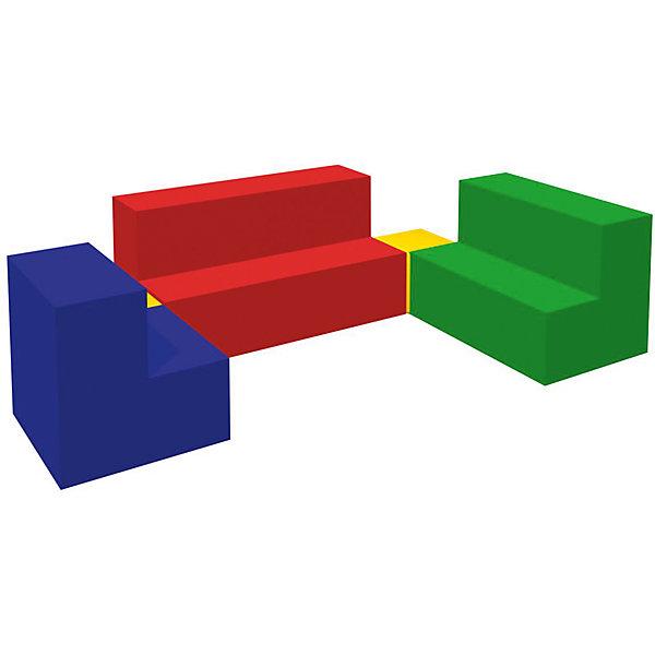 Игровой мягкий комплекс Мебель, RomanaДетские мягкие кресла<br>Характеристики:<br><br>• в комплекте: 3 ступени разных размеров, 2 кубика;<br>• размер 1-й ступени: 60х40х40 см;<br>• размер 2-й ступени: 50х40х40 см;<br>• размер 3-й ступени: 40х40х40 см;<br>• размер кубика: 20х20х20 см;<br>• материал: поролон, винилискожа;<br>• размер упаковки: 40х100х160 см;<br>• вес: 6500 грамм.<br><br>Игровой комплекс Мебель  - отличное решение для детских развивающих игр. В набор входят три ступени разной длины и два кубика.<br><br>Совмещая элементы, ребенок научится различать цвета, размеры и формы, познакомится с понятиями больший и меньший. <br><br>Мебель изготовлена из винилискожи и поролона. Мягкие элементы гарантируют безопасность ребенка во время игры. После использования мебель без труда очищается любыми моющими средствами.<br><br>Игровой мягкий комплекс Мебель, Romana (Романа) можно купить в нашем интернет-магазине.<br><br>Ширина мм: 1600<br>Глубина мм: 1000<br>Высота мм: 400<br>Вес г: 6500<br>Возраст от месяцев: 36<br>Возраст до месяцев: 60<br>Пол: Унисекс<br>Возраст: Детский<br>SKU: 6742454