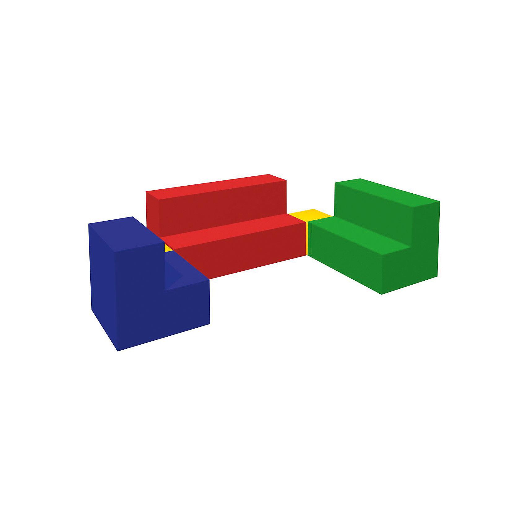 Игровой мягкий комплекс Мебель, RomanaМебель<br>Характеристики:<br><br>• в комплекте: 3 ступени разных размеров, 2 кубика;<br>• размер 1-й ступени: 60х40х40 см;<br>• размер 2-й ступени: 50х40х40 см;<br>• размер 3-й ступени: 40х40х40 см;<br>• размер кубика: 20х20х20 см;<br>• материал: поролон, винилискожа;<br>• размер упаковки: 40х100х160 см;<br>• вес: 6500 грамм.<br><br>Игровой комплекс Мебель  - отличное решение для детских развивающих игр. В набор входят три ступени разной длины и два кубика.<br><br>Совмещая элементы, ребенок научится различать цвета, размеры и формы, познакомится с понятиями больший и меньший. <br><br>Мебель изготовлена из винилискожи и поролона. Мягкие элементы гарантируют безопасность ребенка во время игры. После использования мебель без труда очищается любыми моющими средствами.<br><br>Игровой мягкий комплекс Мебель, Romana (Романа) можно купить в нашем интернет-магазине.<br><br>Ширина мм: 1600<br>Глубина мм: 1000<br>Высота мм: 400<br>Вес г: 6500<br>Возраст от месяцев: 36<br>Возраст до месяцев: 60<br>Пол: Унисекс<br>Возраст: Детский<br>SKU: 6742454