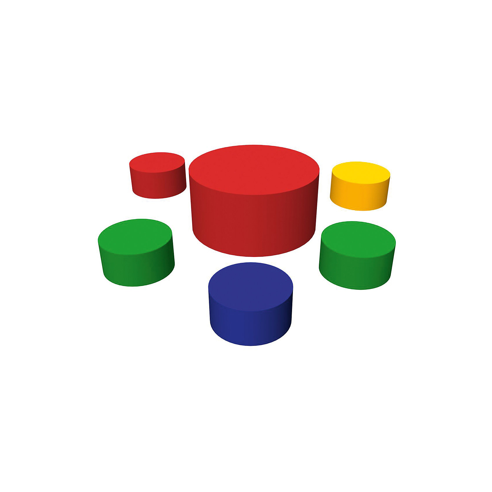 Игровая мебель 6 элементов, RomanaМебель<br>Характеристики:<br><br>• в комплекте: 5 маленьких цилиндров, 1 большой цилиндр;<br>• размер маленьких цилиндров: 30х30х15 см;<br>• размер большого цилиндра: 60х60х30 см;<br>• материал: поролон, винилискожа;<br>• размер упаковки: 30х150х150 см;<br>• вес: 7000 грамм.<br><br>В набор игровой мебели от ROMANA входят пять маленьких и один большой цилиндры. Маленькие цилиндры напоминают стульчики, а большой - стол. <br><br>В процессе игры ребенок научится различать цвета, формы и размеры. А мебель подойдет для игрового сюжета любимых игрушек. Игра с такой мебелью поможет в развитии моторики рук, пространственного и логического мышления.<br><br>Пуфы выполнены из поролона и винилискожи, что гарантирует безопасность ребенка во время игры. После использования мебель легко очищается моющими средствами.<br><br>Игровую мебель 6 элементов, Romana (Романа) вы можете купить в нашем интернет-магазине.<br><br>Ширина мм: 1500<br>Глубина мм: 1500<br>Высота мм: 300<br>Вес г: 7000<br>Возраст от месяцев: 36<br>Возраст до месяцев: 60<br>Пол: Унисекс<br>Возраст: Детский<br>SKU: 6742455
