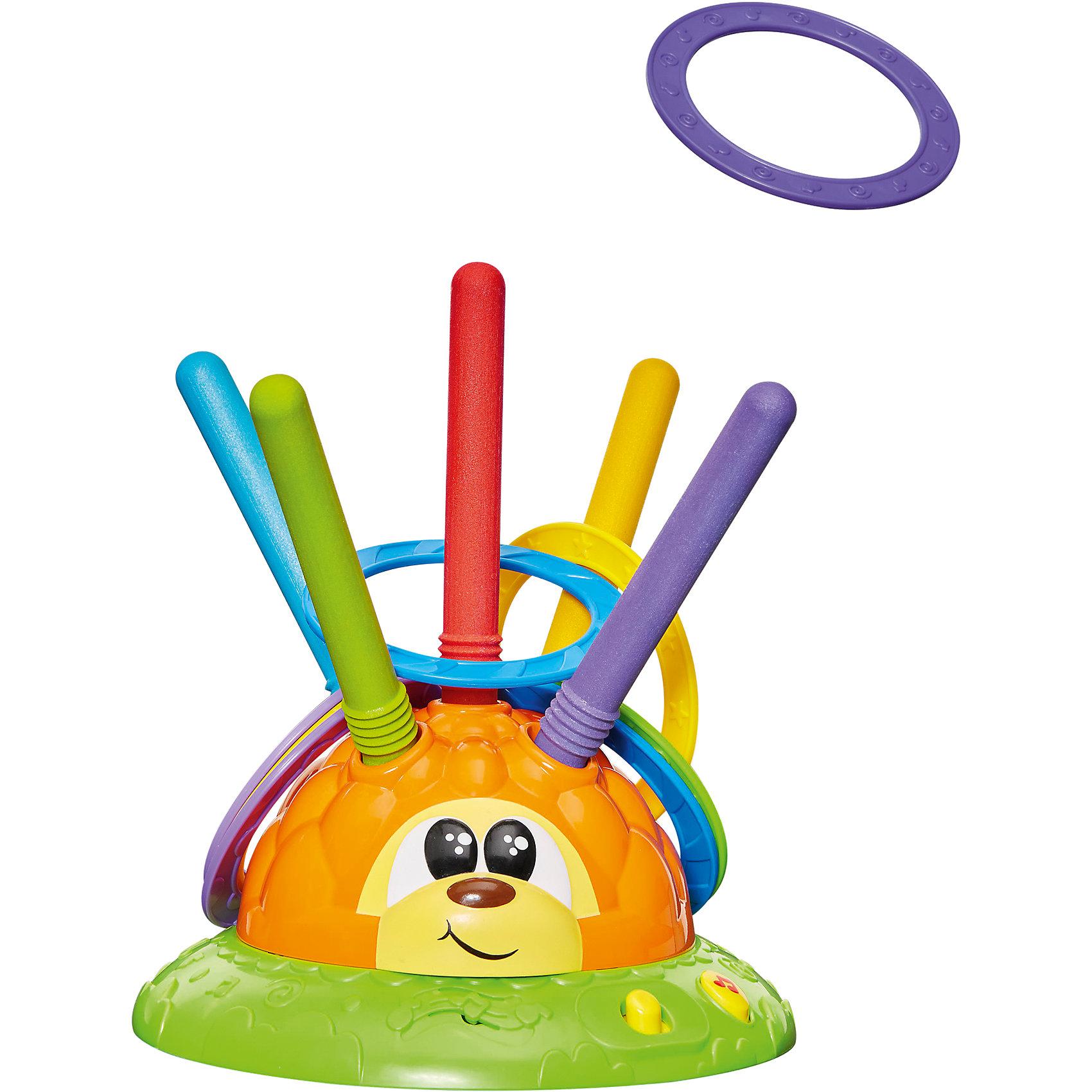 Музыкальная игра Chicco Мистер RingИнтерактивные игрушки для малышей<br>Характеристики:<br><br>• возраст: от 2 лет<br>• комплектация: игрушка в виде ежика, 8 легких колец<br>• материал: пластик<br>• батарейки: 3 типа ААА<br>• наличие батареек: не входят в комплект<br>• размер упаковки: 25х12,5х32 см.<br>• вес: 863 гр.<br>• страна бренда: Италия<br>• страна изготовитель: Китай<br><br>Музыкальная игрушка «Мистер Ring» - отличный вариант для подвижных активных игр в помещении или на открытом воздухе.<br>Основание игрушки в виде яркого ежика вращается на 2 разных скоростях. Задача малыша накинуть кольцо на колышки, расположенные на спинке ежа. Игра сопровождается веселыми мелодиями, которые активируются нажатием на кнопку.<br><br>Музыкальную игрушку Mr. Ring, Chicco (Чикко) можно купить в нашем интернет-магазине.<br><br>Ширина мм: 250<br>Глубина мм: 125<br>Высота мм: 320<br>Вес г: 863<br>Возраст от месяцев: 24<br>Возраст до месяцев: 2147483647<br>Пол: Унисекс<br>Возраст: Детский<br>SKU: 6749295