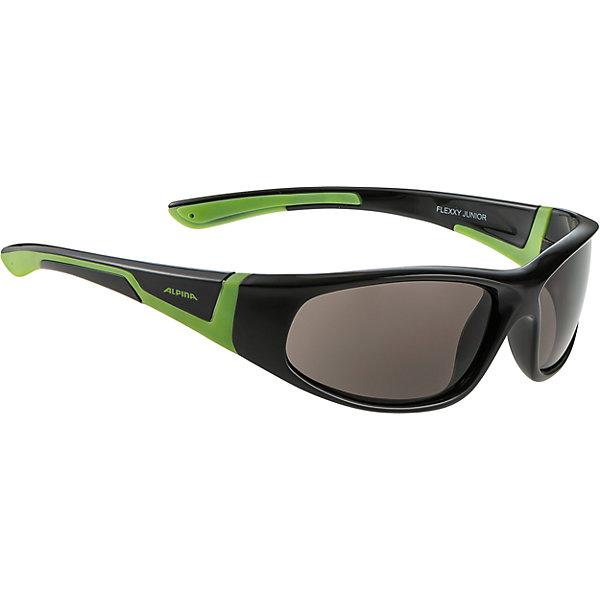 Очки солнцезащитные FLEXXY JUNIOR, черно-зеленые, ALPINAСолнцезащитные очки<br>Характеристики:<br><br>• возраст: от 5 лет;<br>• материал: пластик;<br>• размер упаковки: 19х3х3 см;<br>• вес упаковки: 200 гр.;<br>• страна производитель: Китай.<br><br>Очки солнцезащитные Alpina Flexxy Junior черно-зеленые защищают глаза от попадания солнечных лучей во время прогулки, отдыха на природе, катания на велосипеде, занятий спортом. Линзы выполнены из прочного материала, устойчивого к разбиванию. Они защищают глаза от всех типов УФ-лучей и не запотевают.<br><br>Очки солнцезащитные Alpina Flexxy Junior черно-зеленые можно приобрести в нашем интернет-магазине.<br><br>Ширина мм: 190<br>Глубина мм: 30<br>Высота мм: 30<br>Вес г: 200<br>Возраст от месяцев: 60<br>Возраст до месяцев: 144<br>Пол: Унисекс<br>Возраст: Детский<br>SKU: 6749317
